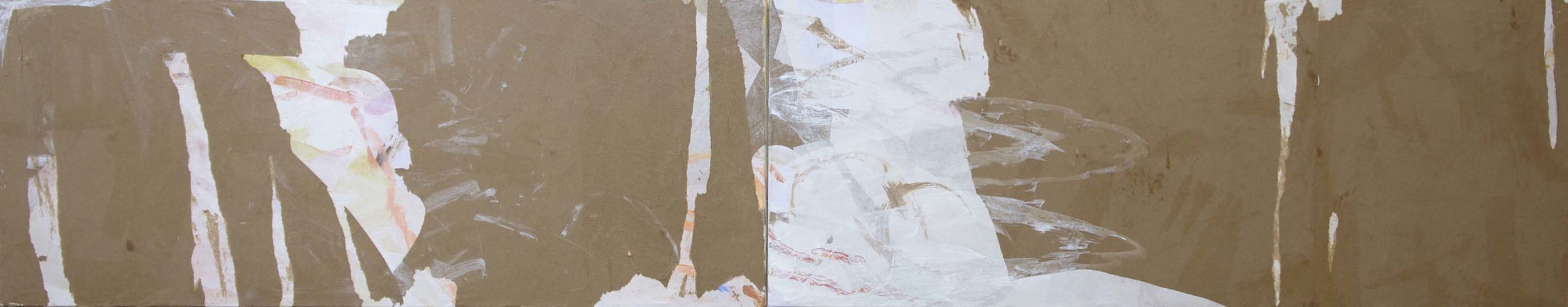 """DAY 3:stage 1  fang creek  18x96""""  acrylic & collaged paper on canvas"""