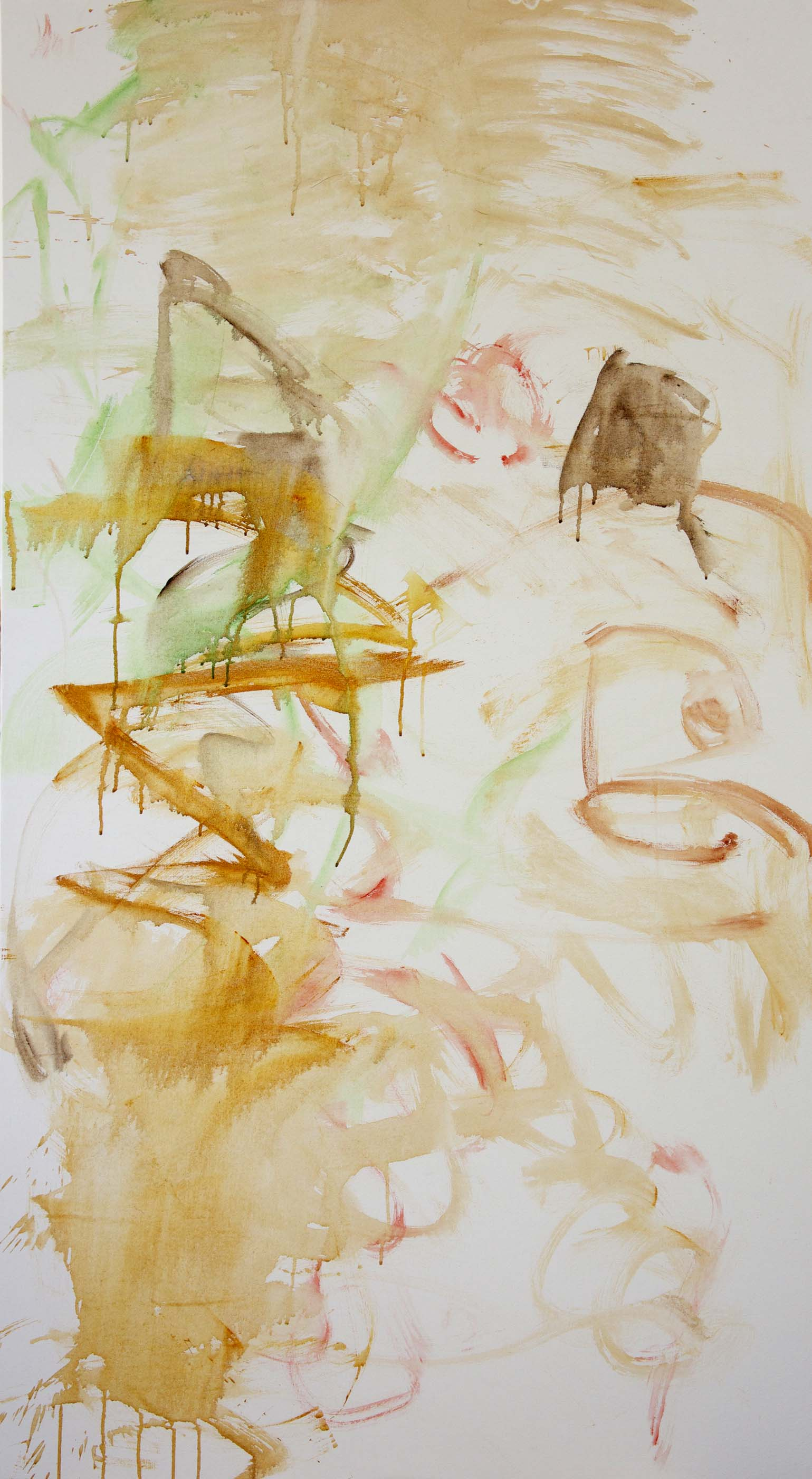 """yaoshan creek  DAY 1, STAGE 1  38X72"""" acrylic & collaged paper on canvas"""