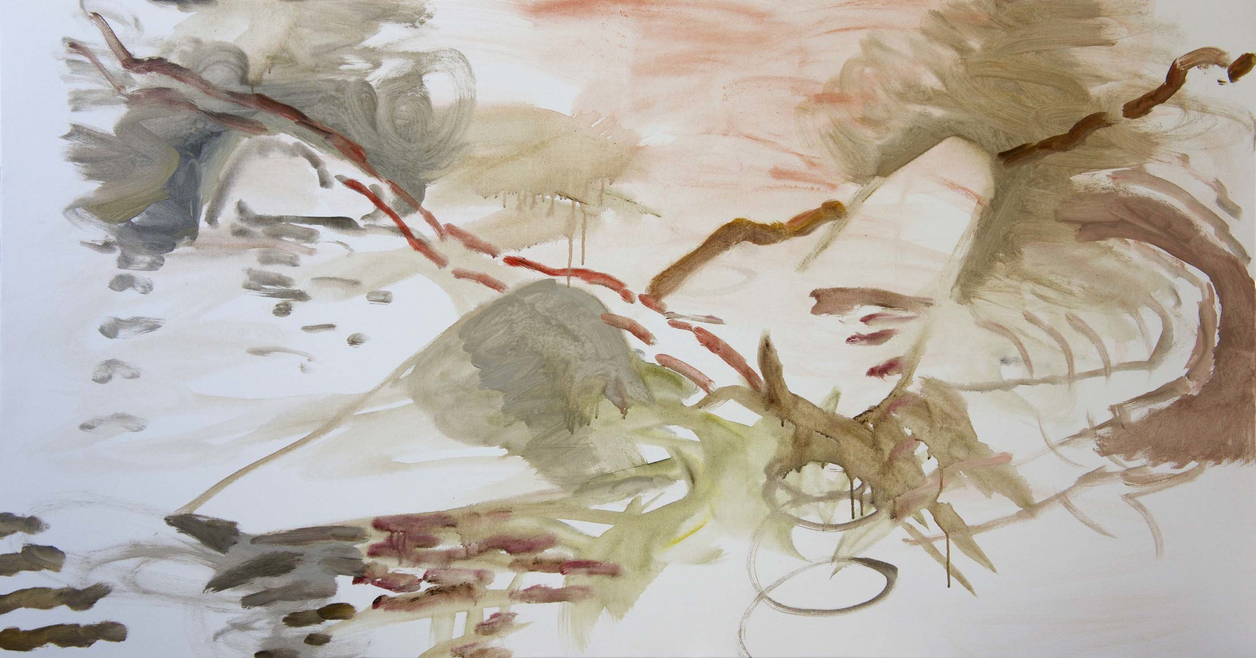 """STAGE 1  yanxi creek  38x72""""  acrylic & collaged paper on canvas"""