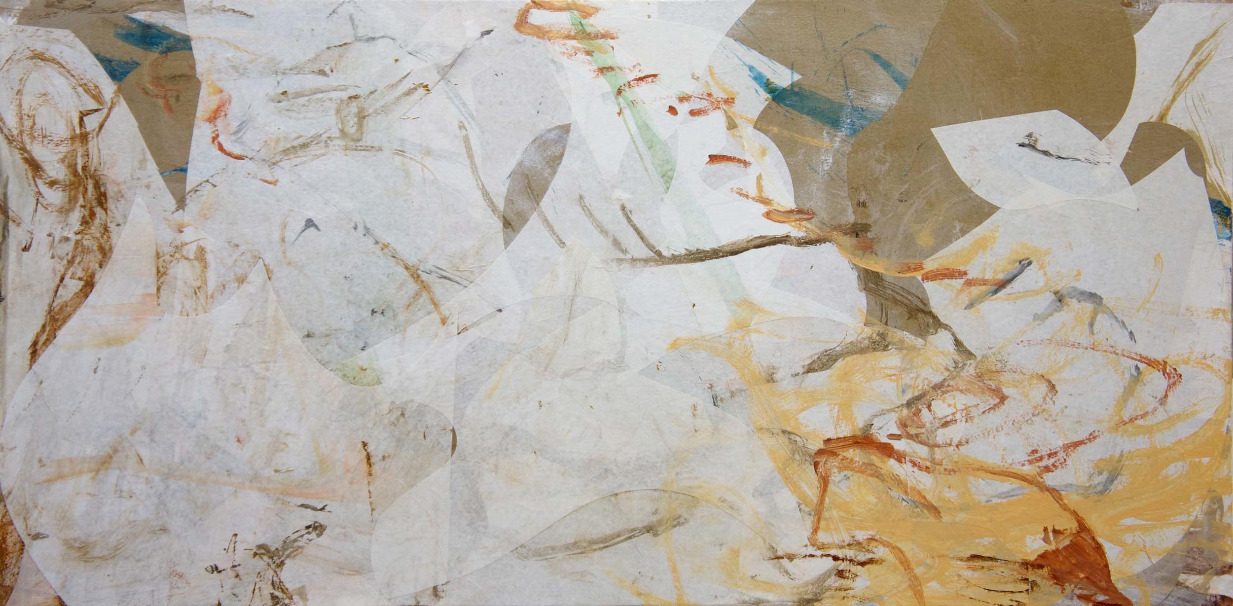 "longmo creek II  24x48""  acrylic & collaged paper on canvas"