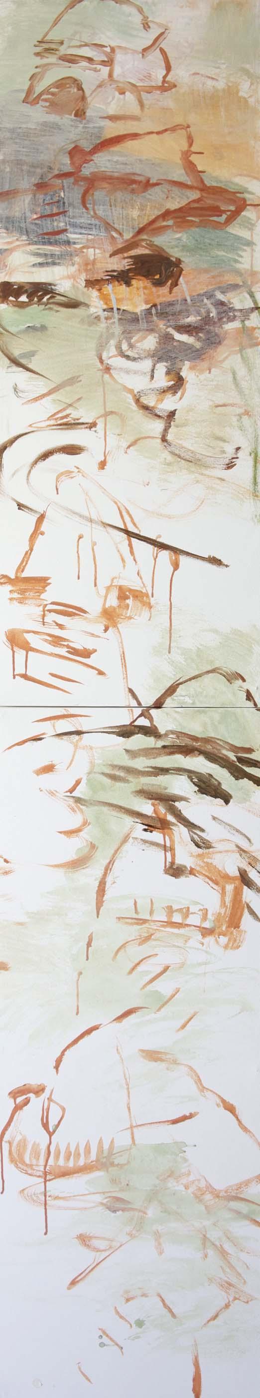 "DAY 1: chang creek 96x18""  acrylic on canvas"