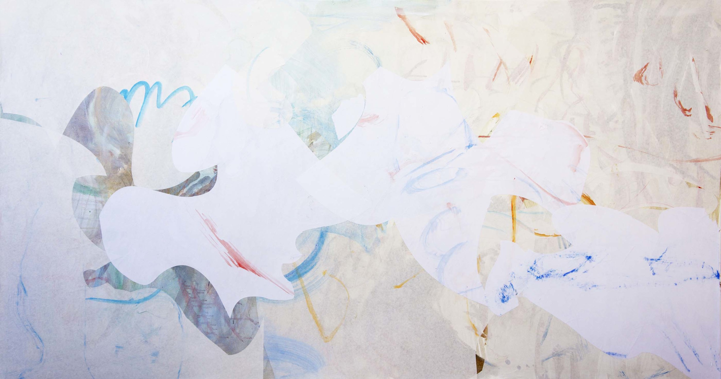 """STAGE 3: gong creek 38x72""""  acrylic & collaged paper on canvas"""