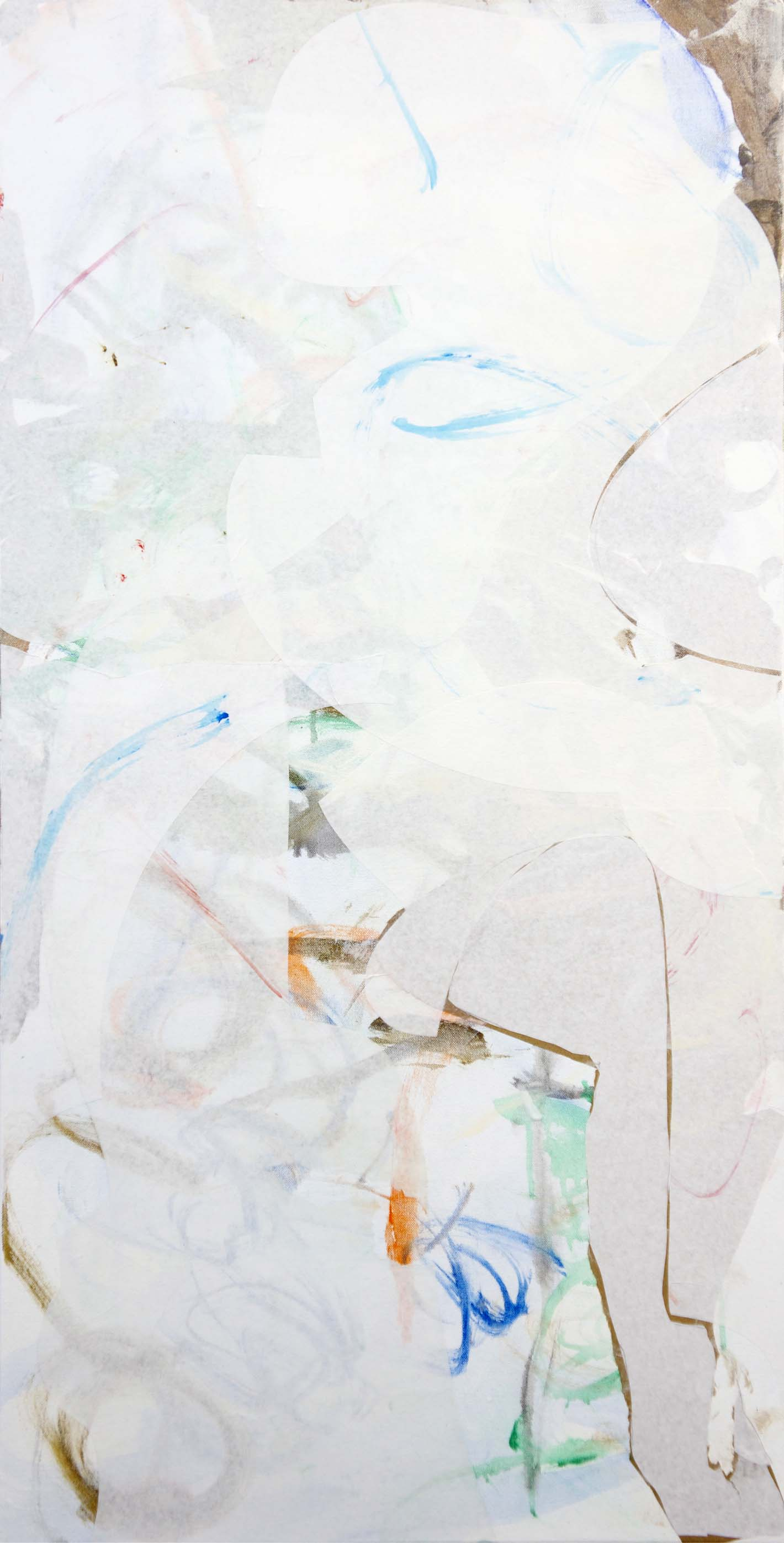 """day 2: completed (?) painting  zhi creek 48x24"""" acrylic & collaged paper on canvas"""