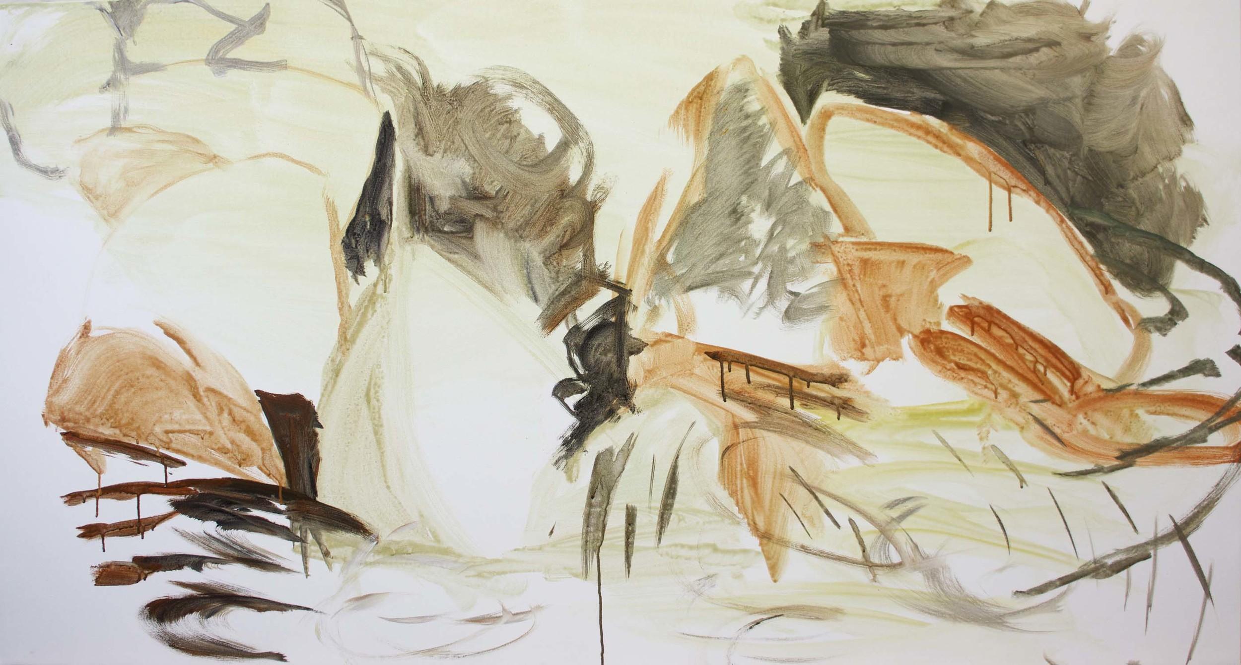 "DAY 1, STAGE 1: ago creek 38x78"" acrylic on canvas"