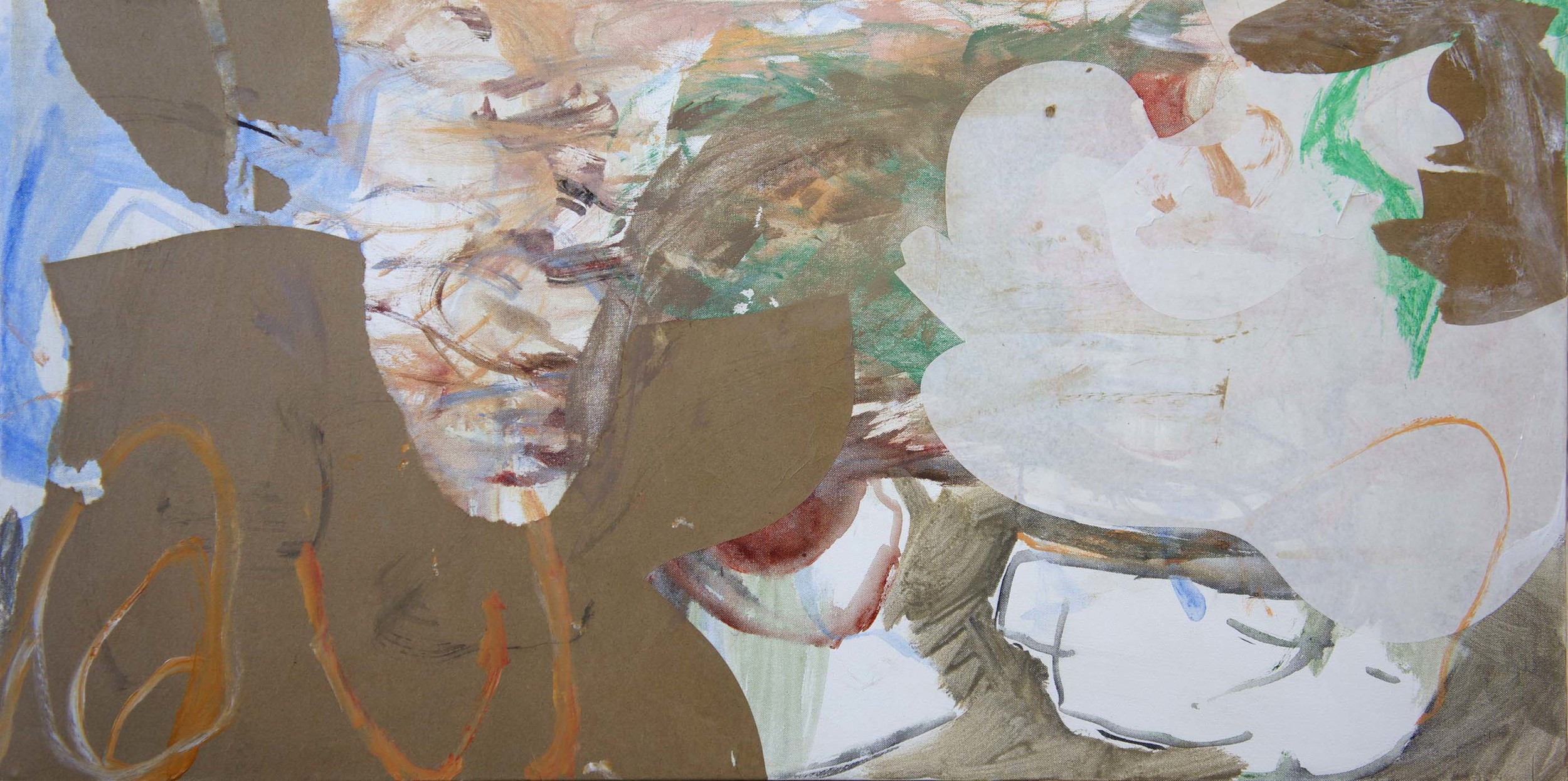 """8/29 FINAL VERSION  tun creek 24x48"""" acrylic & collaged paper on canvas"""