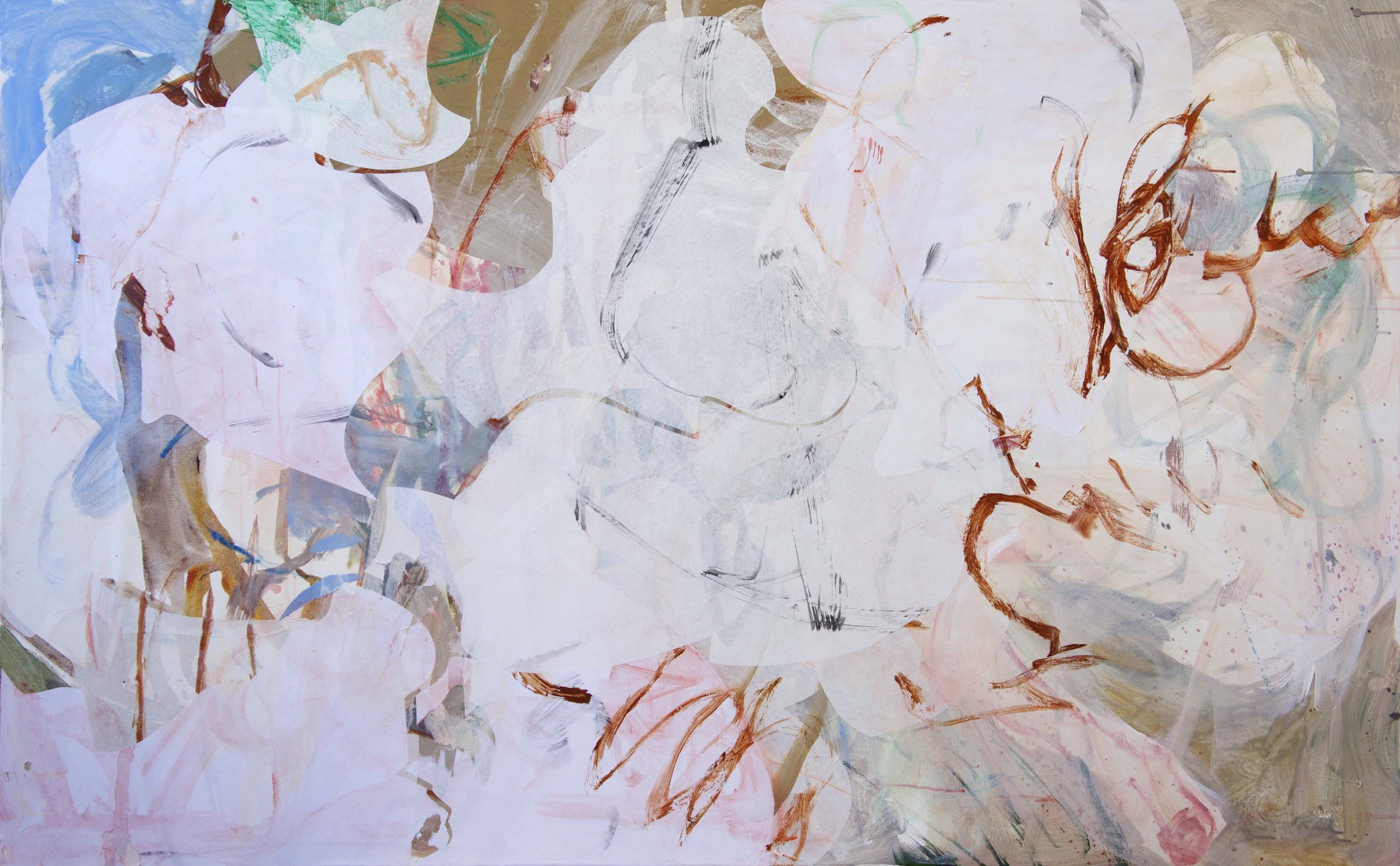 """xia creek  48x78""""  acrylic & collaged paper on canvas"""