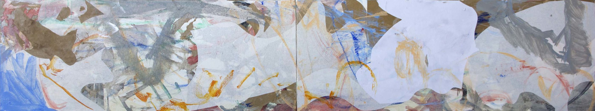"""9/3/13 STAGE 3  wei creek  18x96"""" (2 canvases)  acrylic & collaged paper on canvas"""
