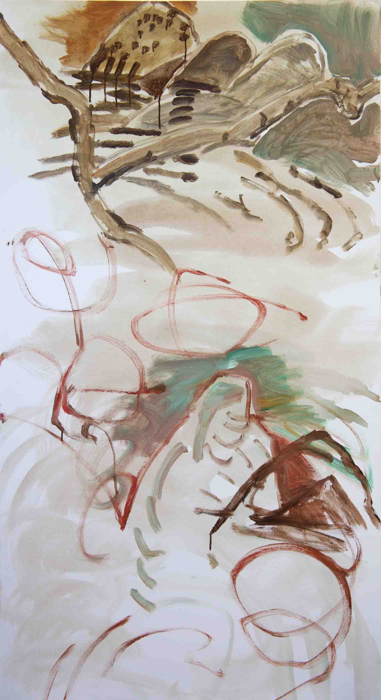 """STAGE 1: gaozong creek 72x38""""   acrylic on canvas"""