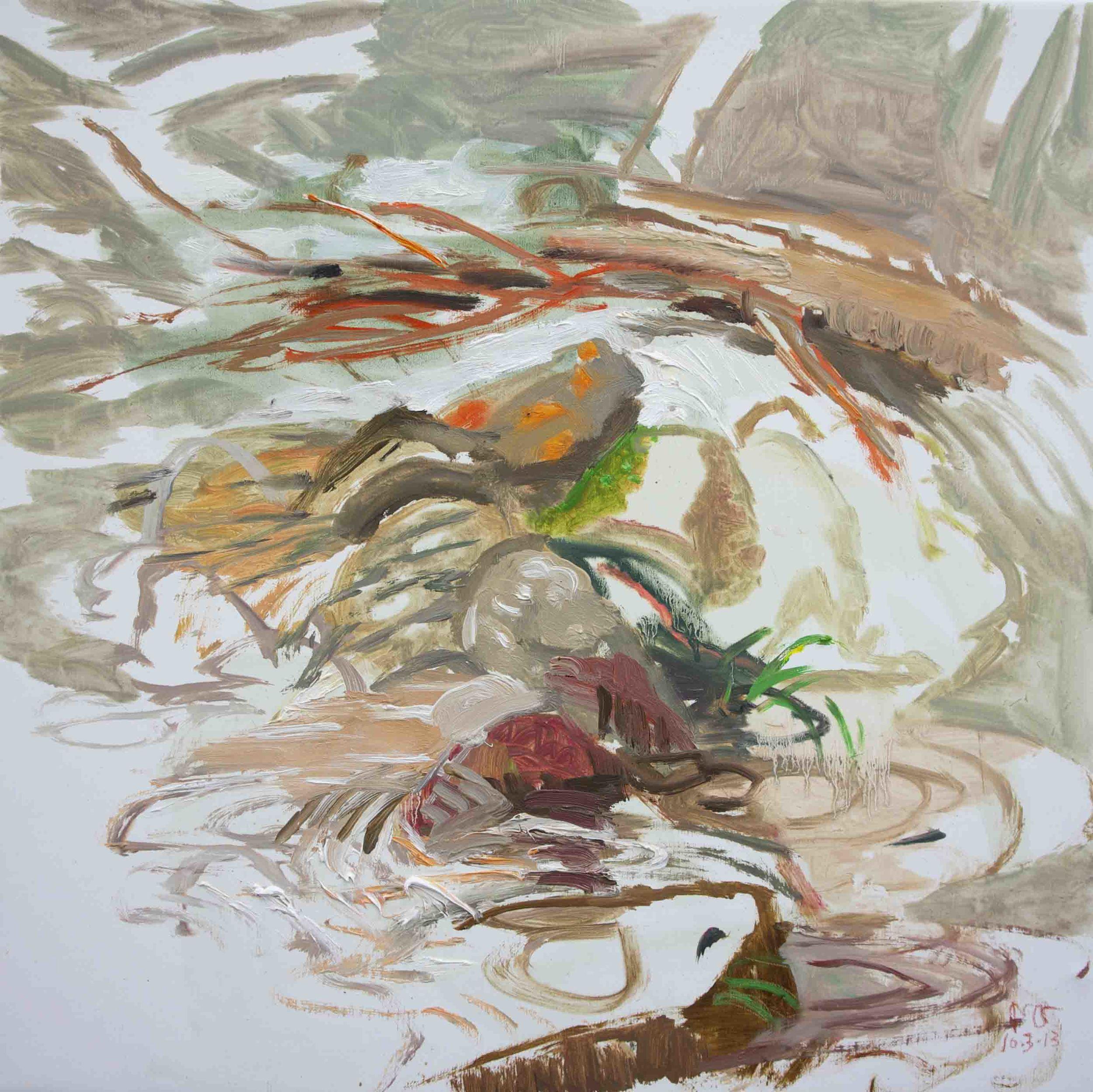 "10/3/13 n. crestone creek  16x16"" oil on linen"