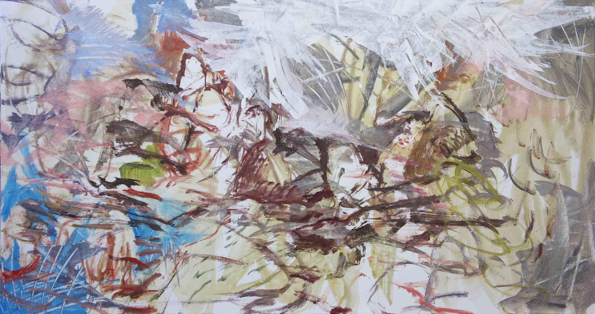 "STAGE 2:  ni creek  38x72"" acrylic on canvas"