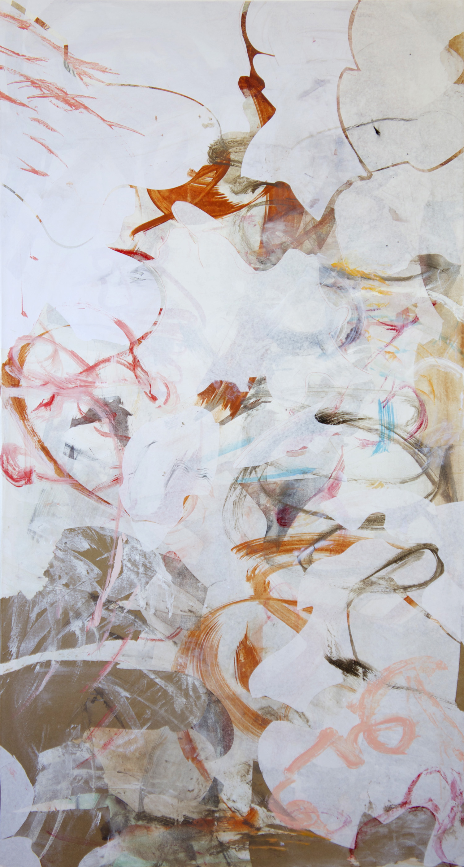 """10/17/13  shi creek  72x38""""  acrylic & collaged paper on canvas"""