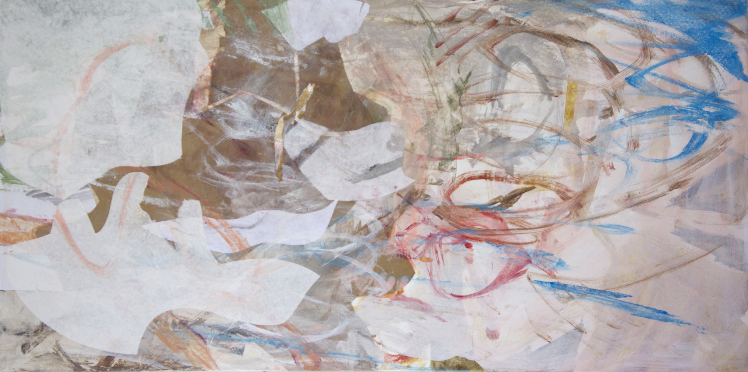 "STAGE 2: LIN CREEK 24x48""  acrylic & collaged paper on canvas"