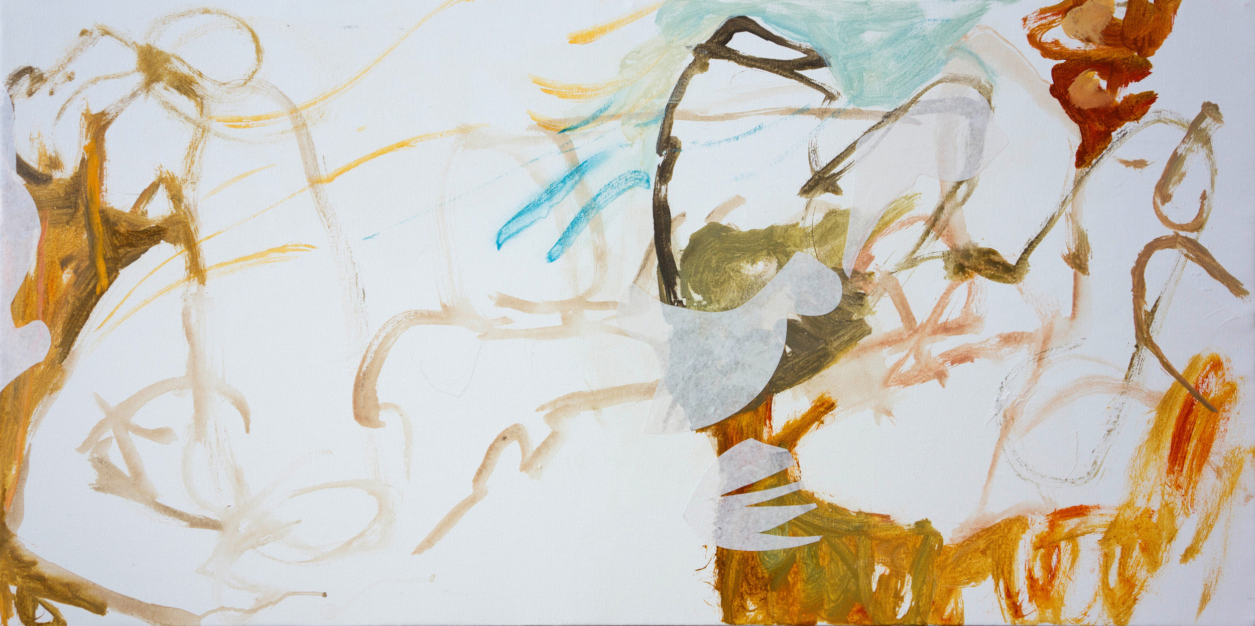 """11/3/13 STAGE 1:  hu creek      24x48"""" acrylic & collaged paper on canvas"""