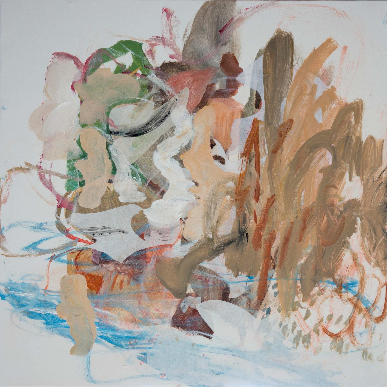 "STAGE 4:  ciyu creek  38x38""  acrylic & collaged paper on canvas"