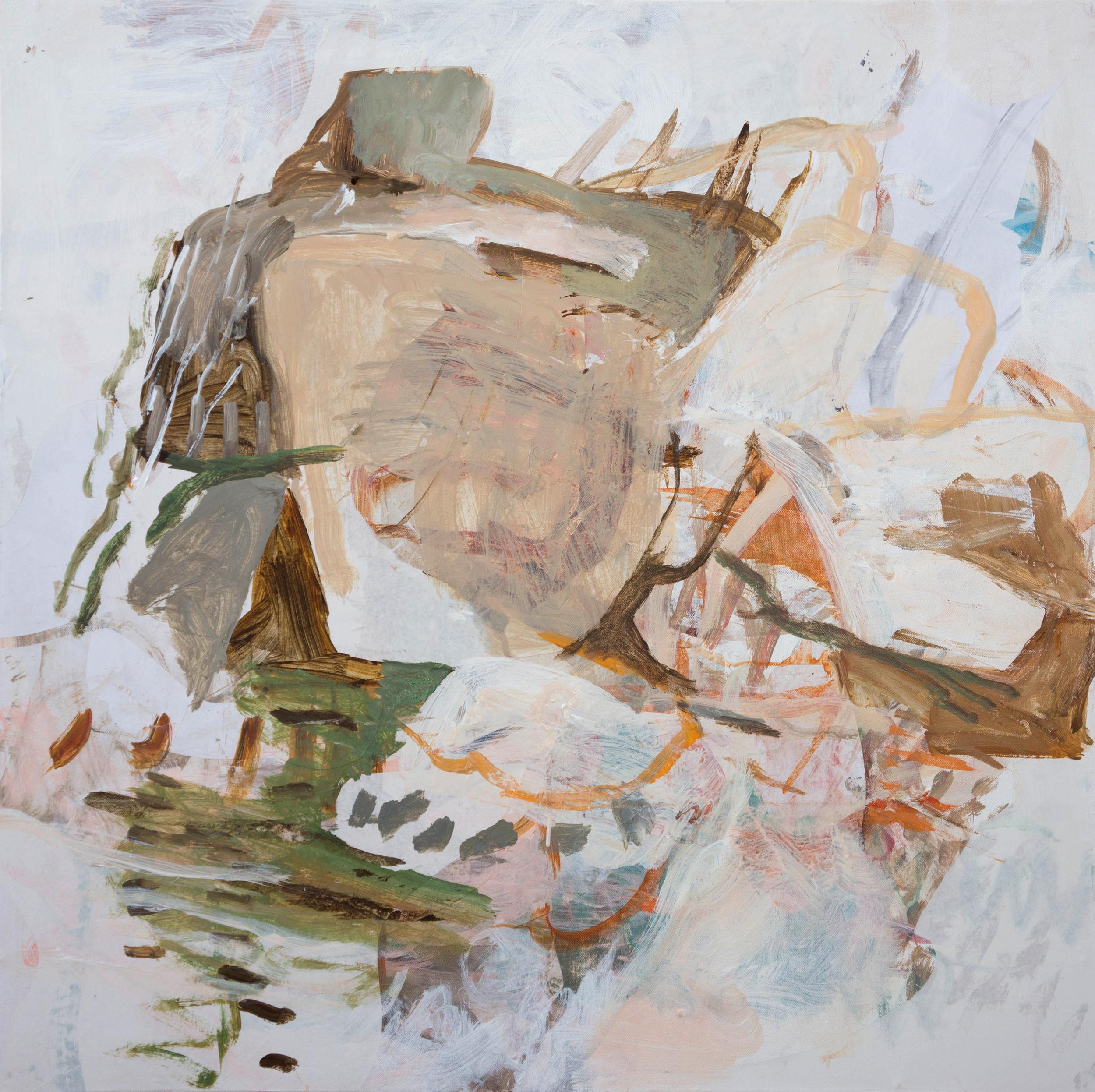 "STAGE 8: ciyu creek  38x38""  acrylic & collaged paper on canvas"