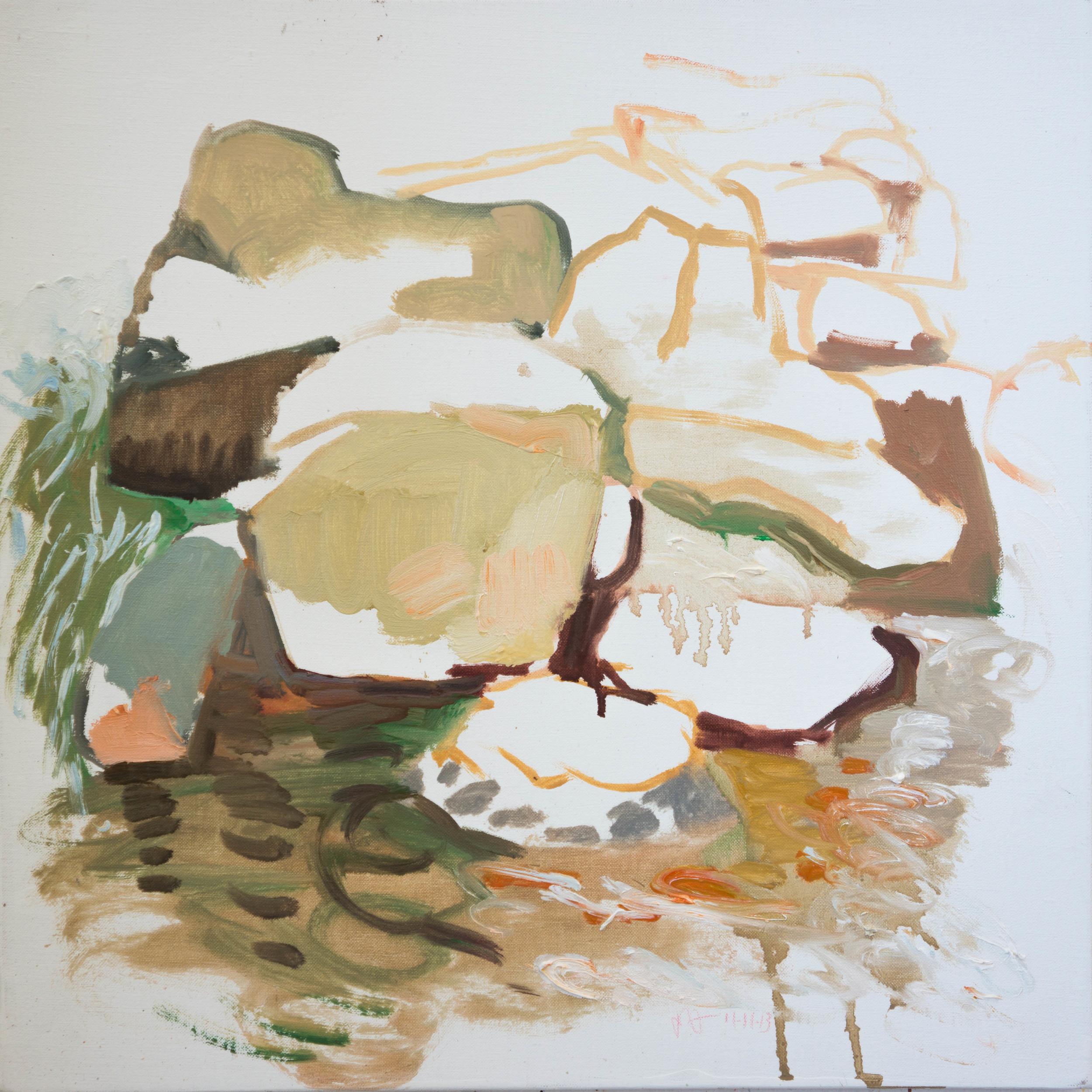 "11/11/13 n. crestone creek  16x16""  this plein air painting served as inspiration for  ciyu creek"