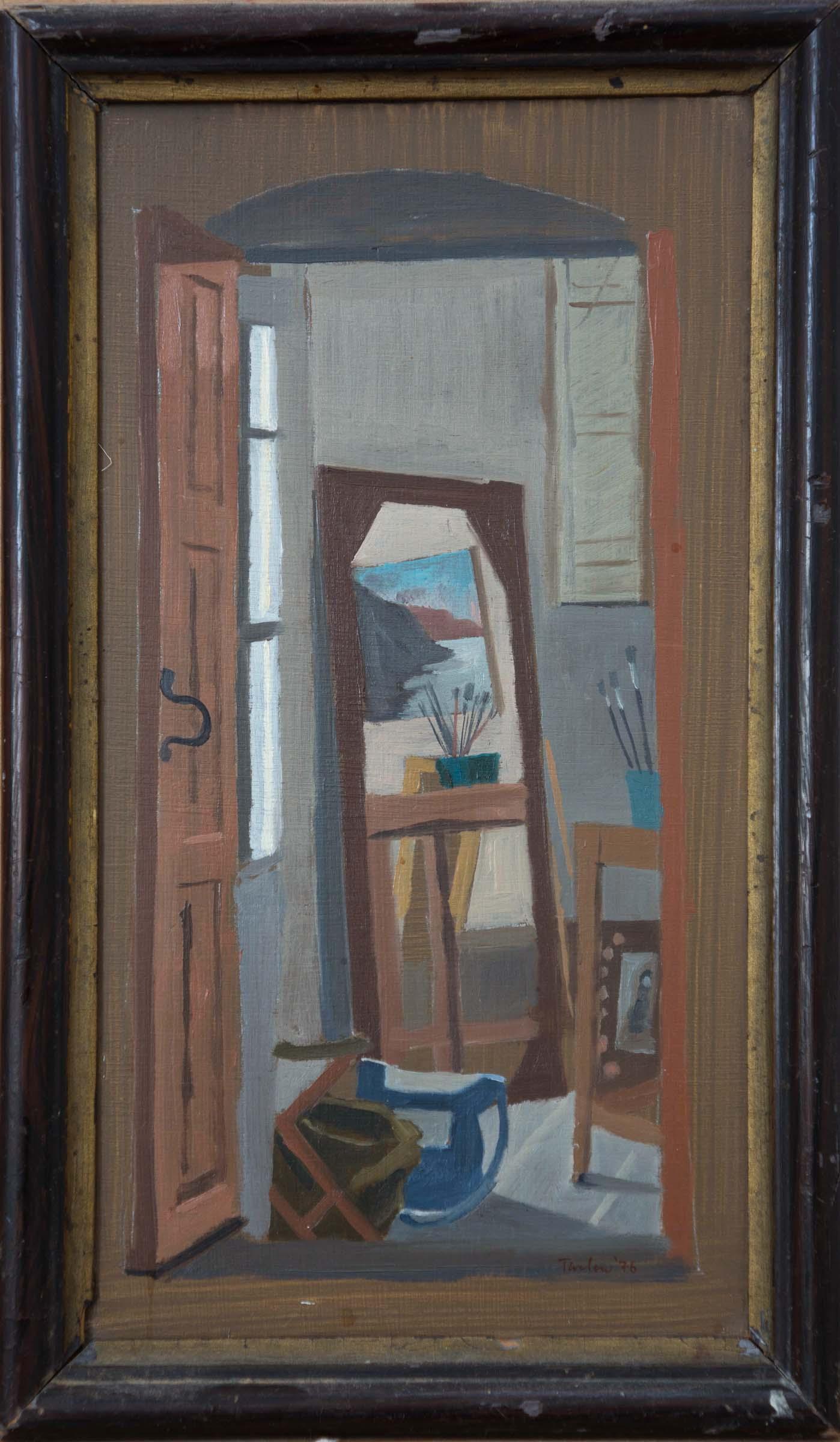 my studio: chora, andros  oil on wood 24.5x13cm.
