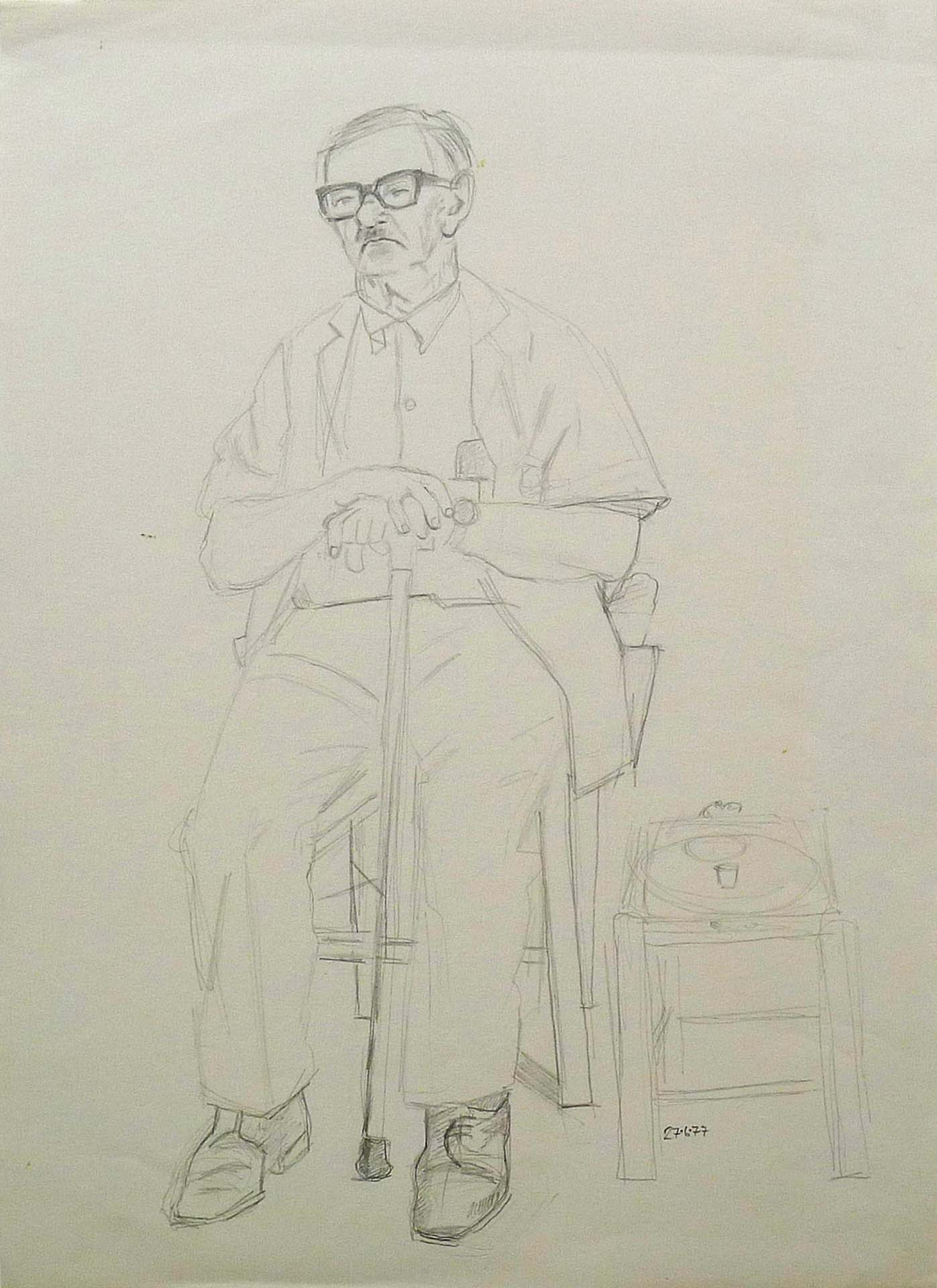 1977 pencil drawing of an andriot