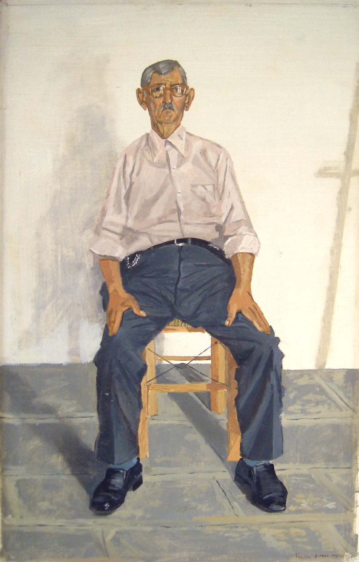 1978 oil on linen mounted on board. o kyrios yannis: he regularly whitewashed our house in chora, andros