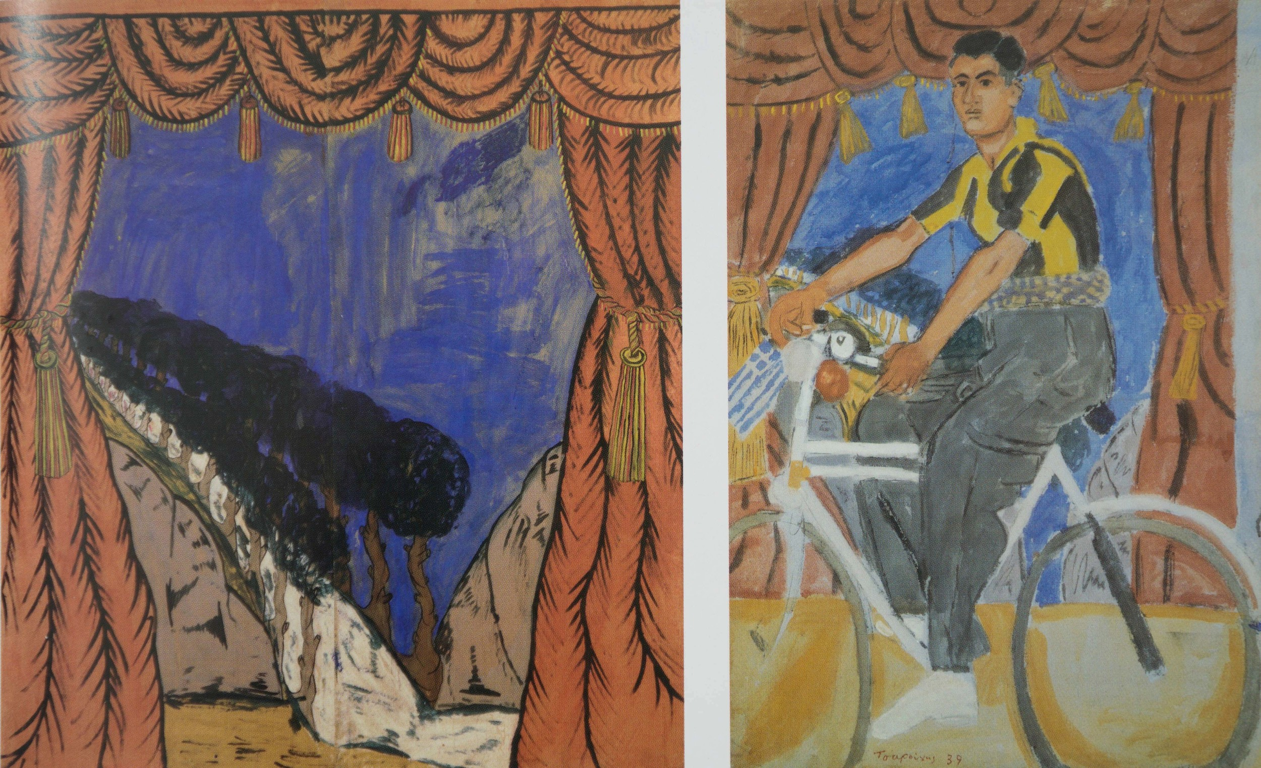 left: spatharis painting commissioned by tsarouchis, who used it as background in his painting on the right