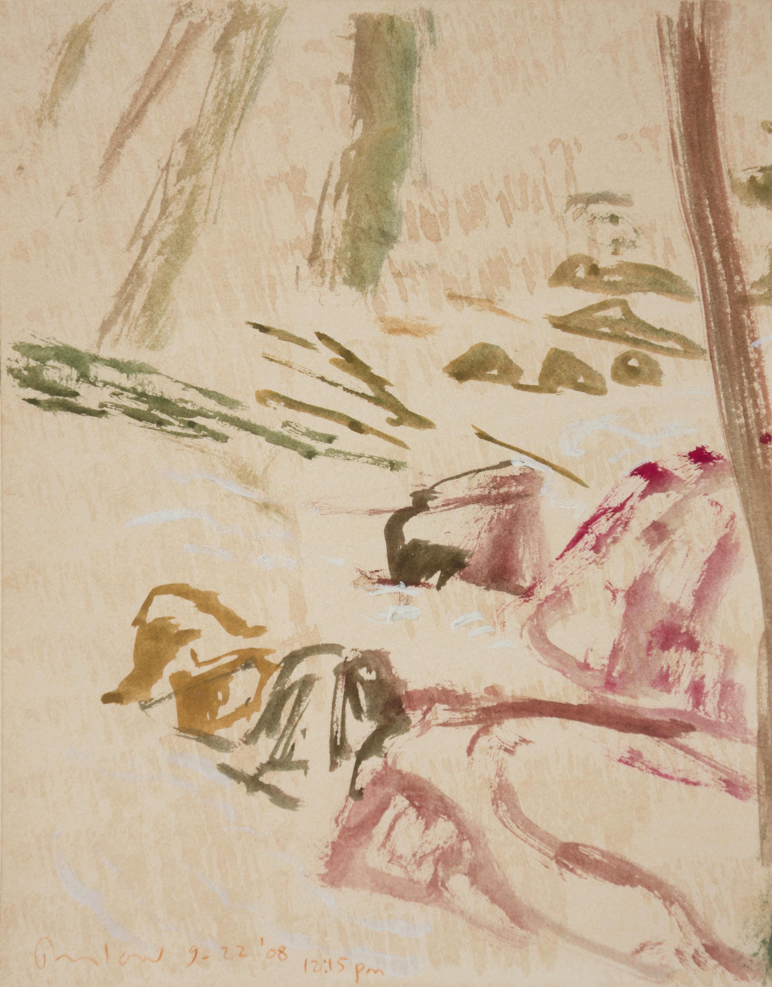9/22/08 plein air   gouache on paper