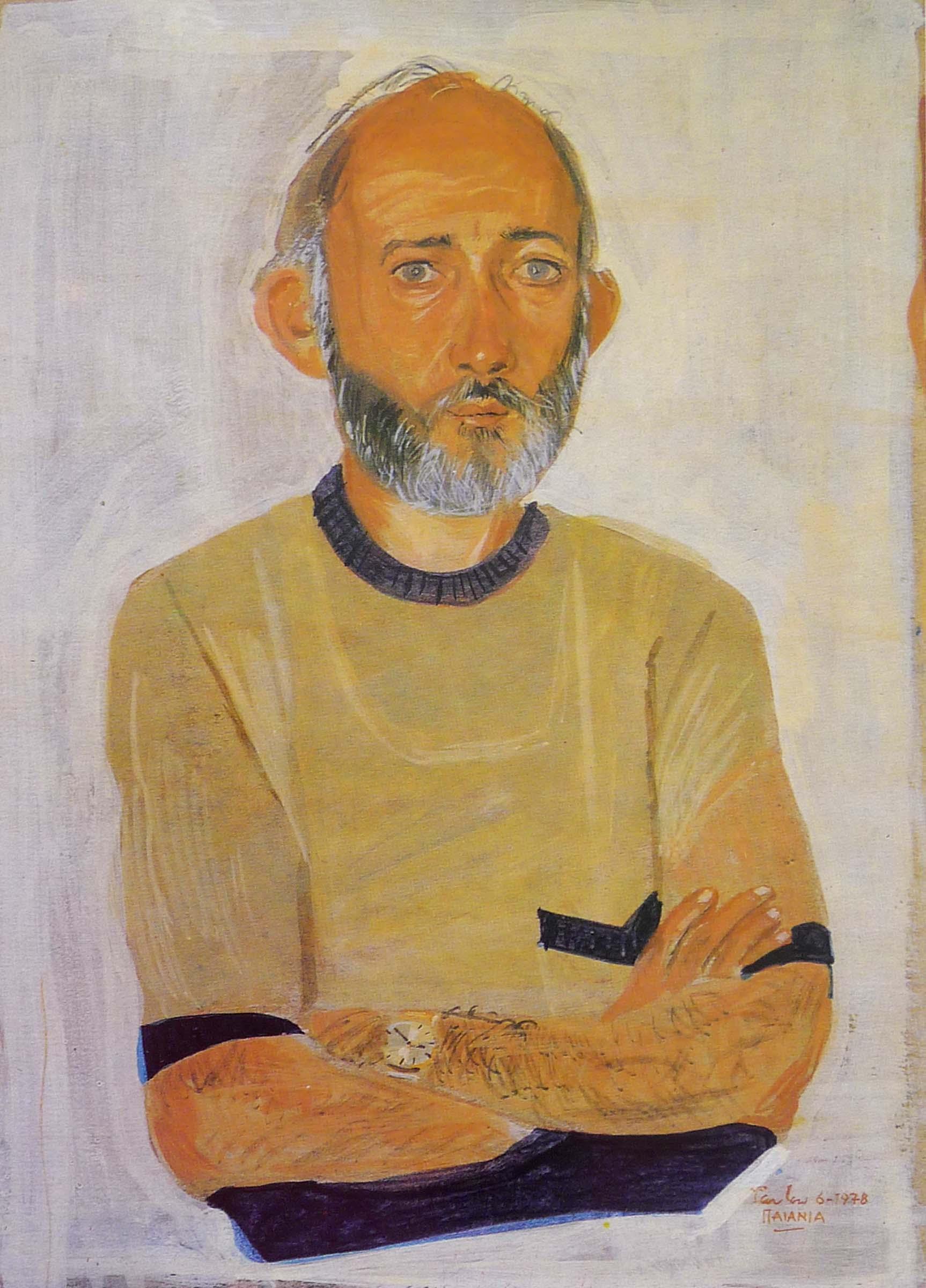 "portrait of r.k.  15.5x10"" egg tempera on board"