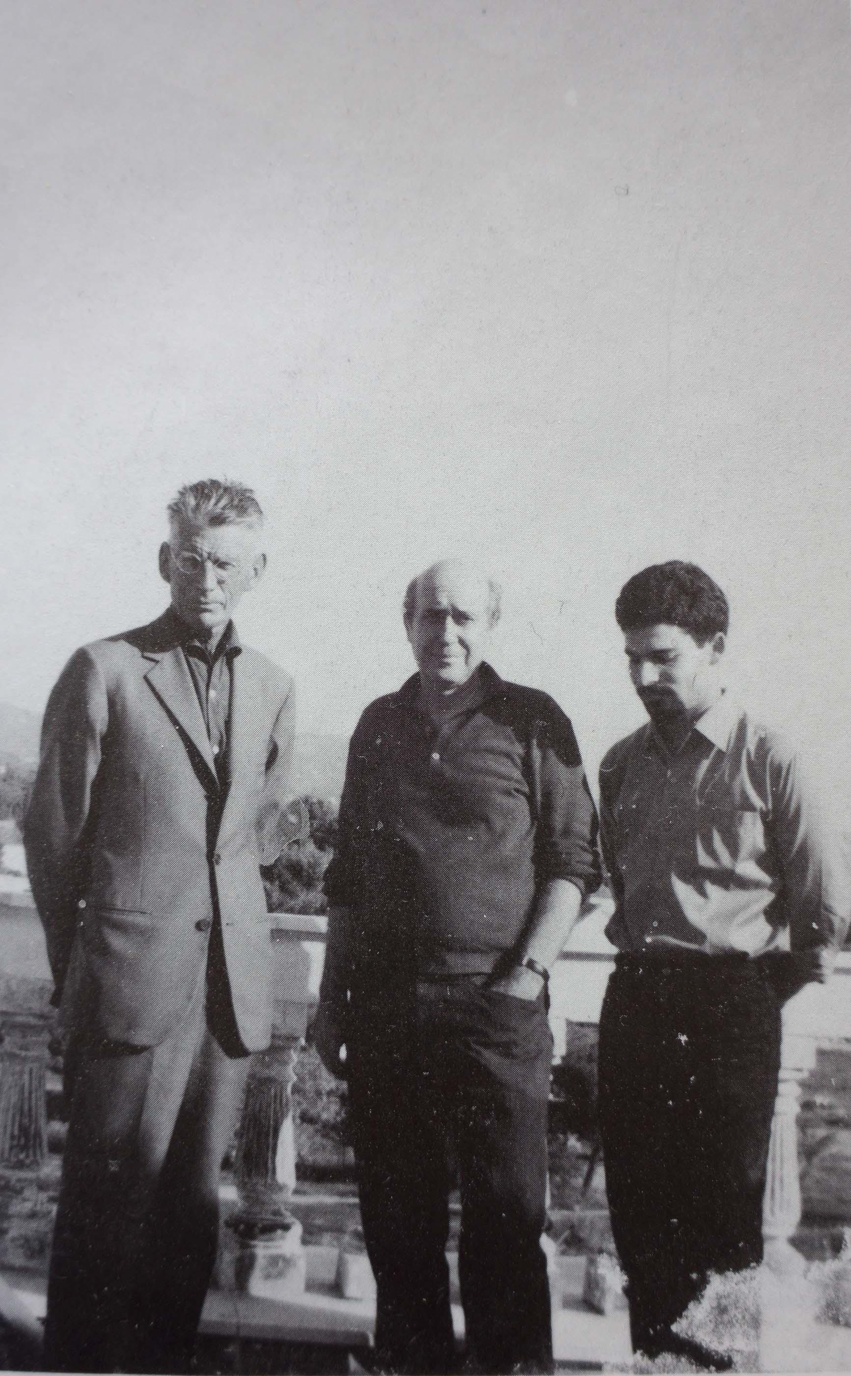 beckett, tsarouchis & tarlow on the roof of tsarouchis' house/studio in maroussi
