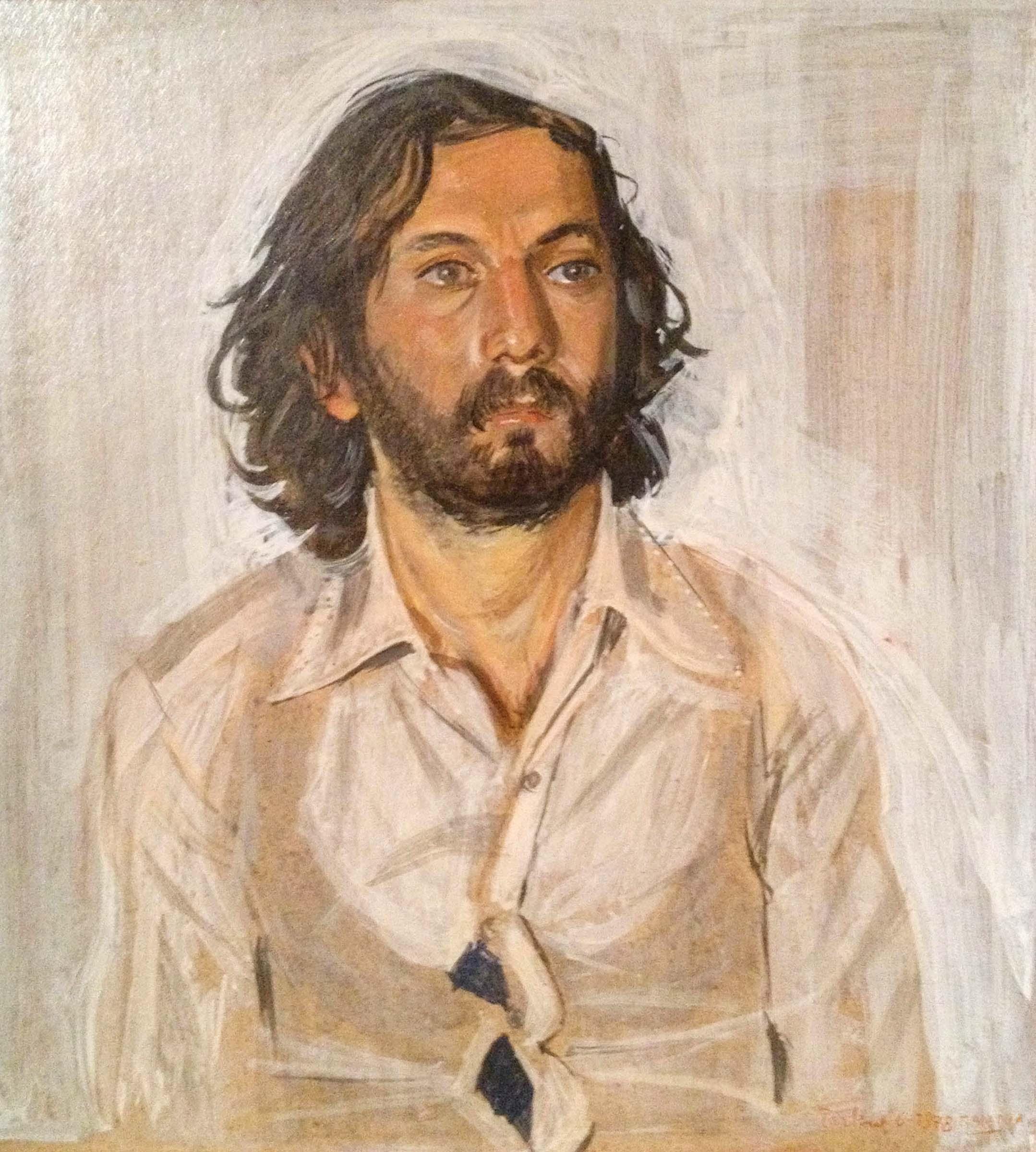 "portrait of a man  14x9"" egg tempera on board"
