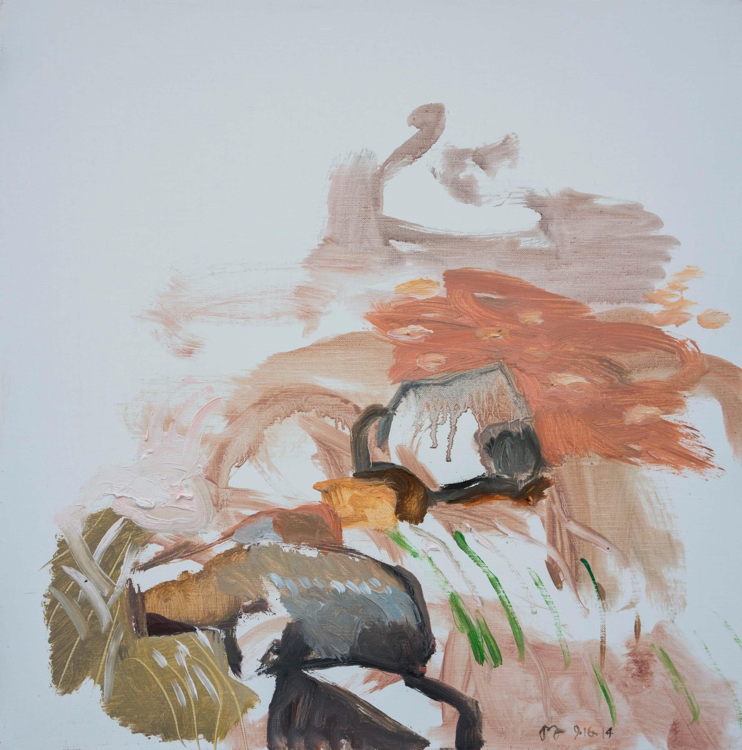 """9/16/14 north crestone creek 16x16"""" oil on portrait linen"""