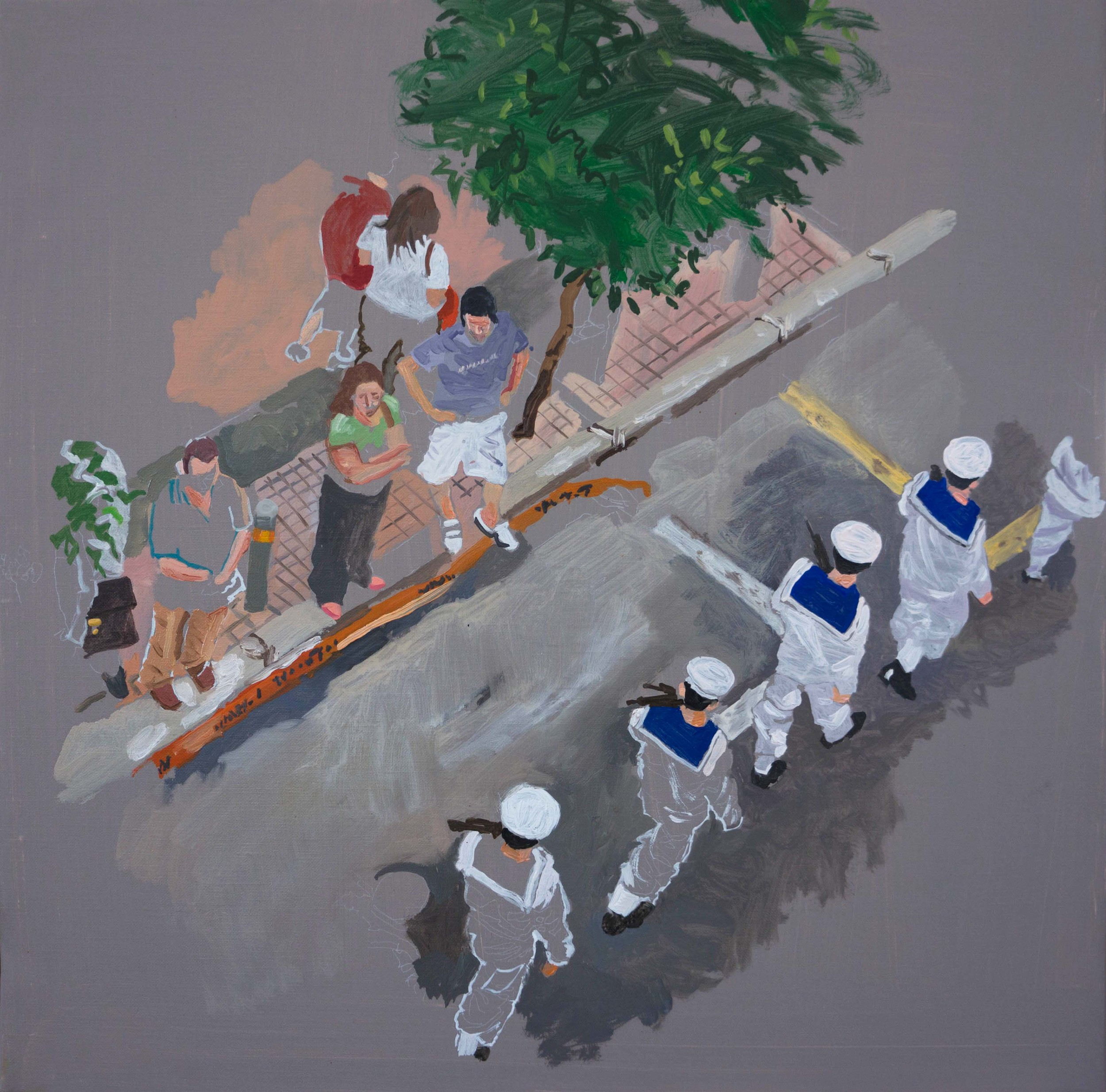 "parade 1  16x16"" oil on linen"