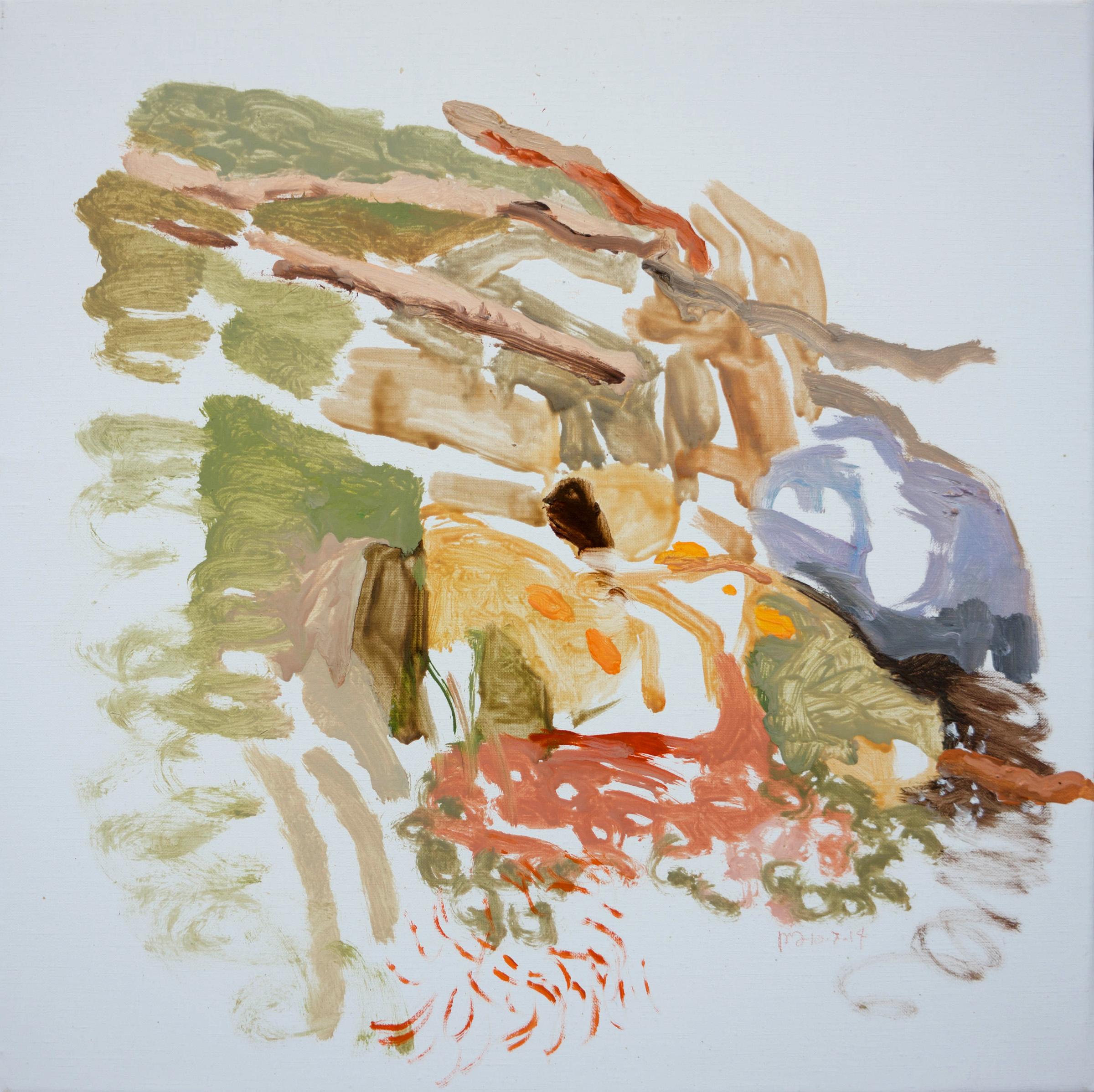 """10/7/14 north crestone creek , 16x16"""" oil on portrait linen"""