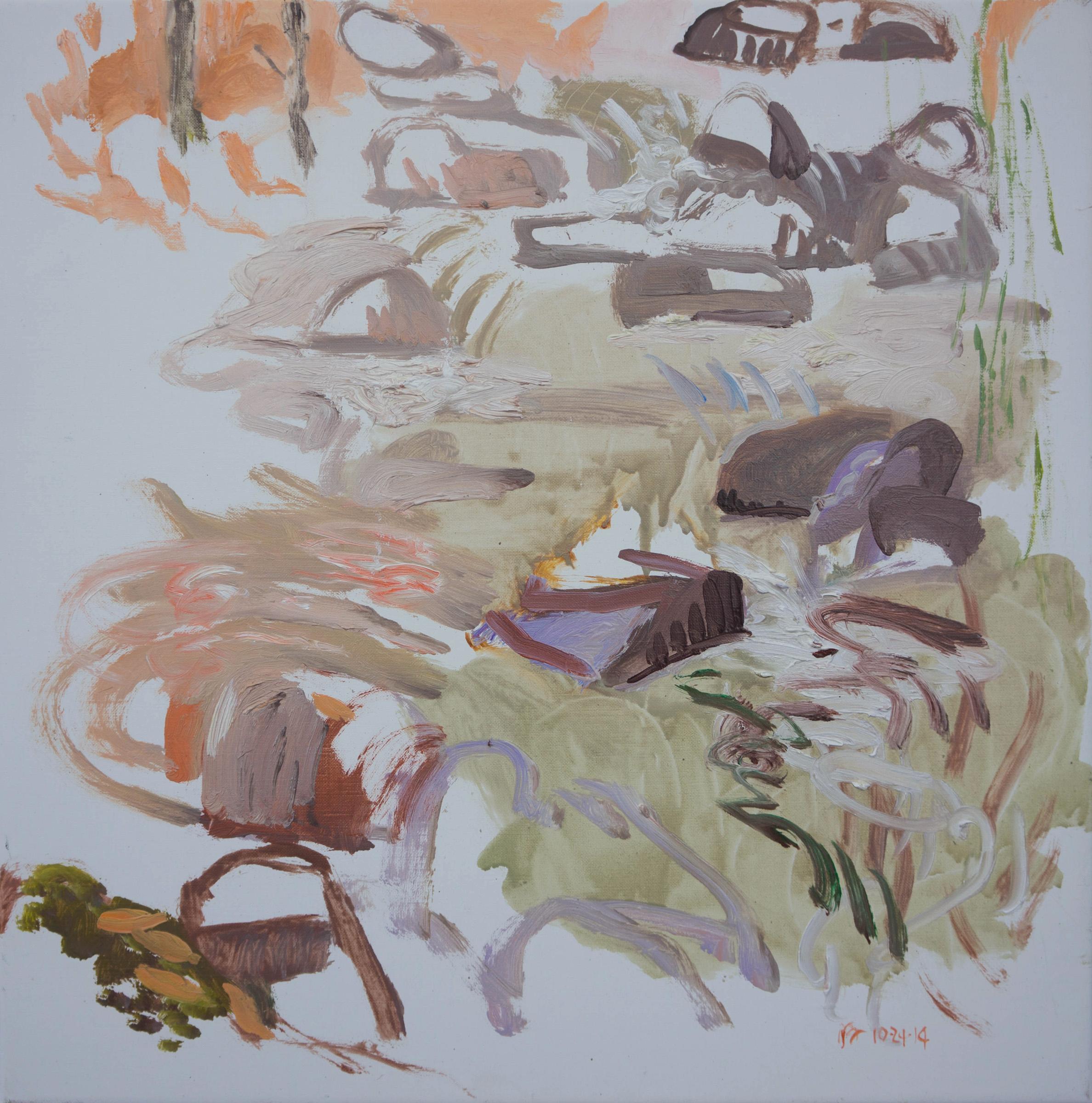 """10/24/14 n. crestone creek  16x16"""" oil on portrait linen"""