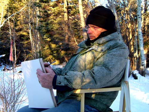 painting by the creek in 2005