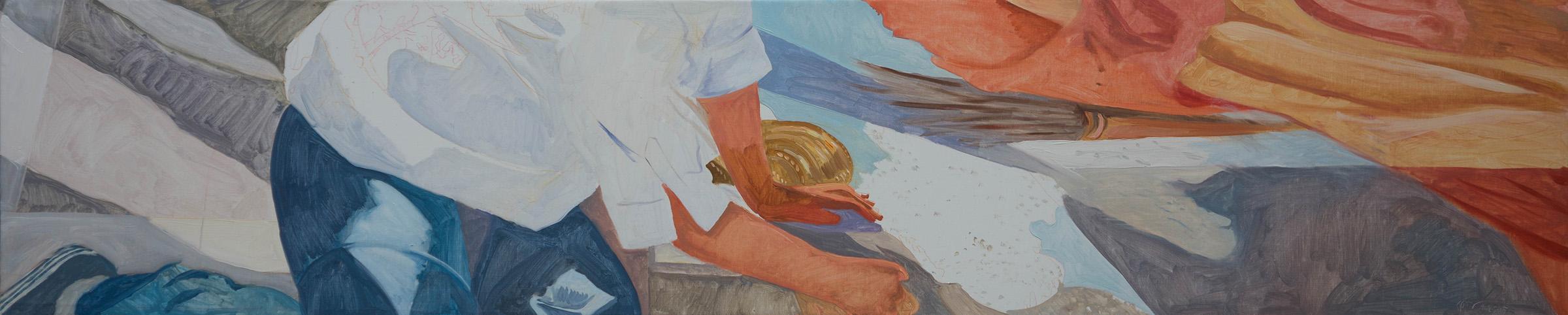"ANO KATO 30  12""x60"" oil on portrait linen  based on photos i shot in 2010 of a sidewalk artist in  denver, co."