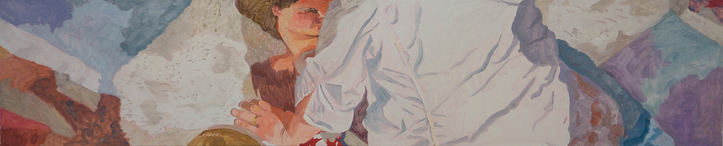 "ANO KATO 40  12x60"" oil on portrait linen  based on photos i shot in 2010 of a sidewalk artist in  denver, co."