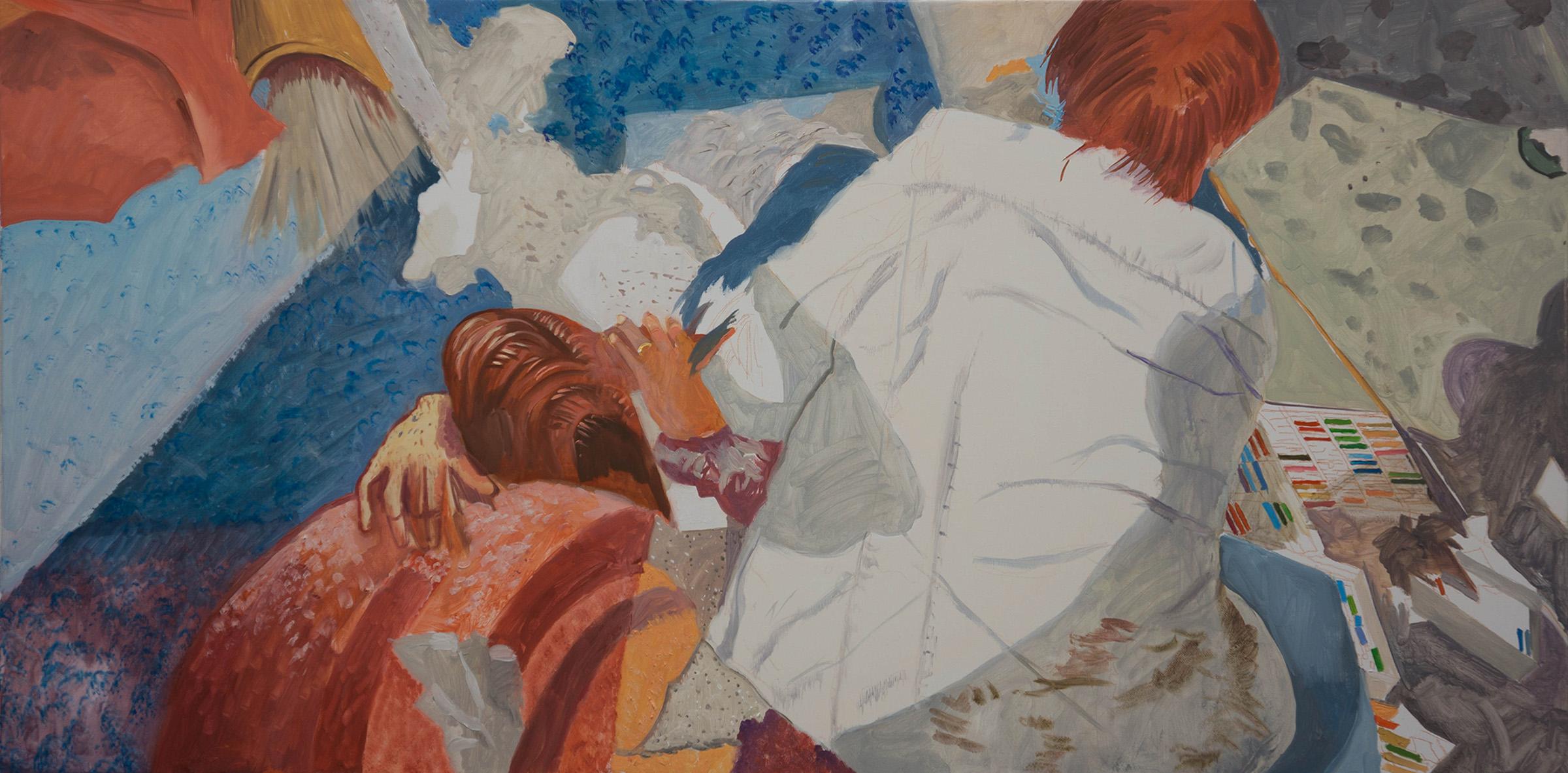 "ANO KATO 42  24x48"" oil on portrait linen  based on photos i shot in 2010 of a sidewalk artist in  denver, co."