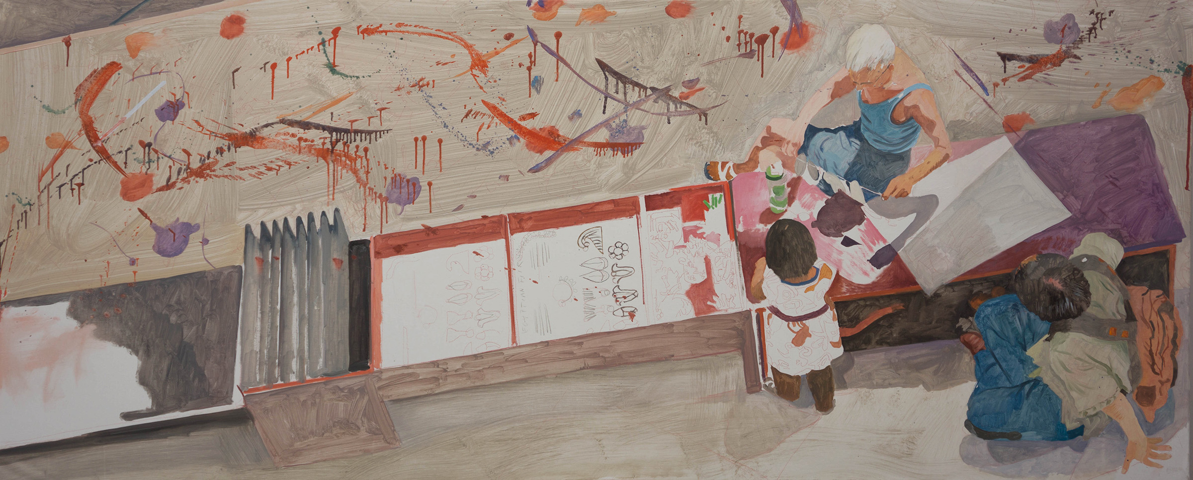 """ANO KATO44  32x78"""" oil on artfix portrait linen  based on photos i shot in the denver art museum , denver, co"""