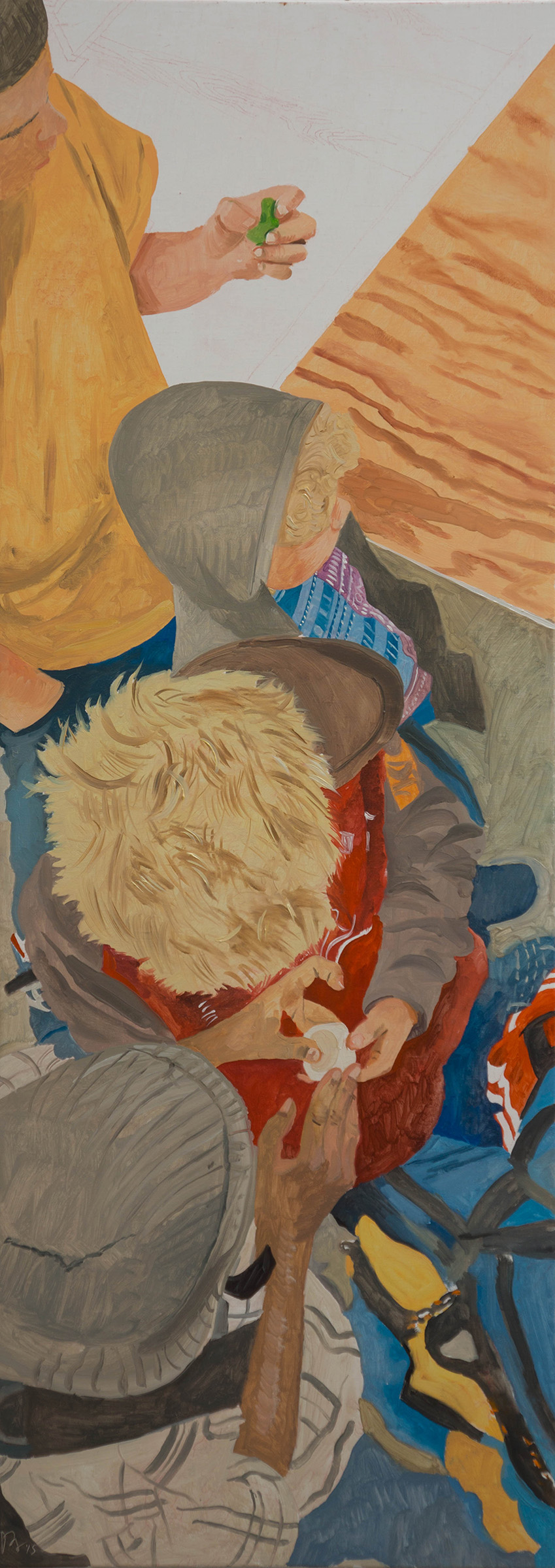 """ANO KATO 46  56x20"""" oil on portrait linen  based on photos i shot at  steamshop , the denver makers space"""