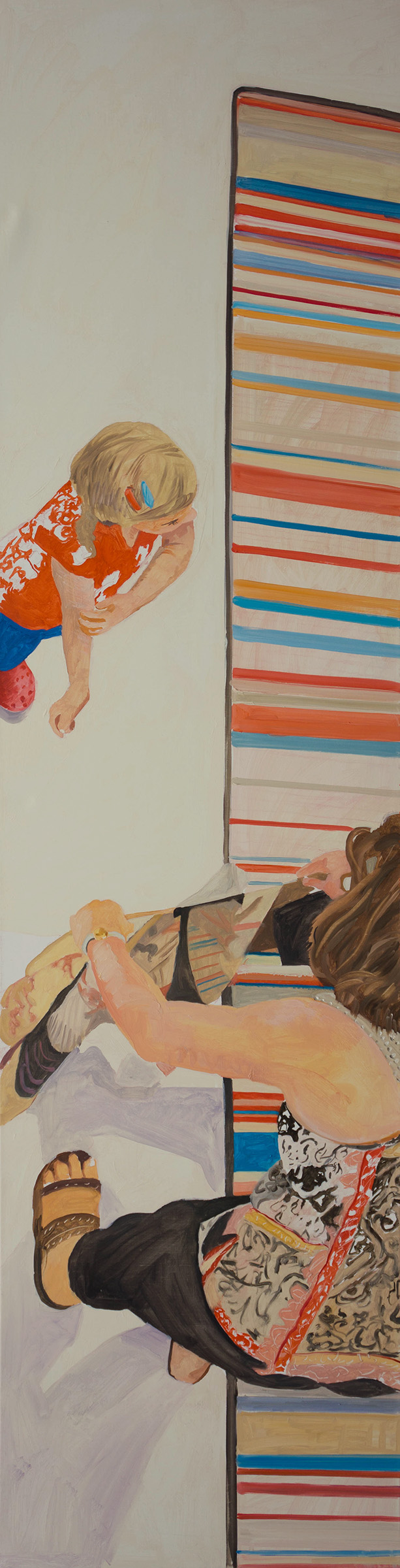 """ANO KATO 49  68x18"""" oil on portrait linen  based on photos i shot in the science museum , denver, co."""