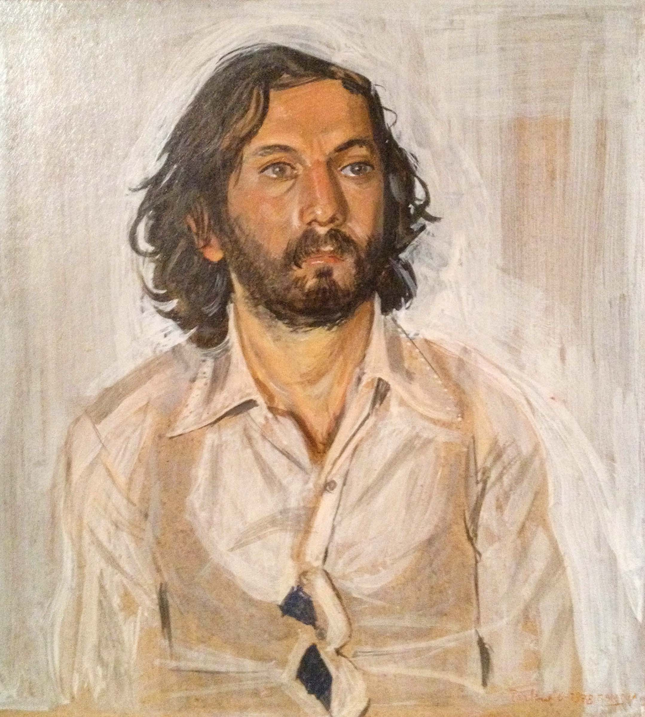 1978 portrait in egg tempera on board, in a private collection, athens