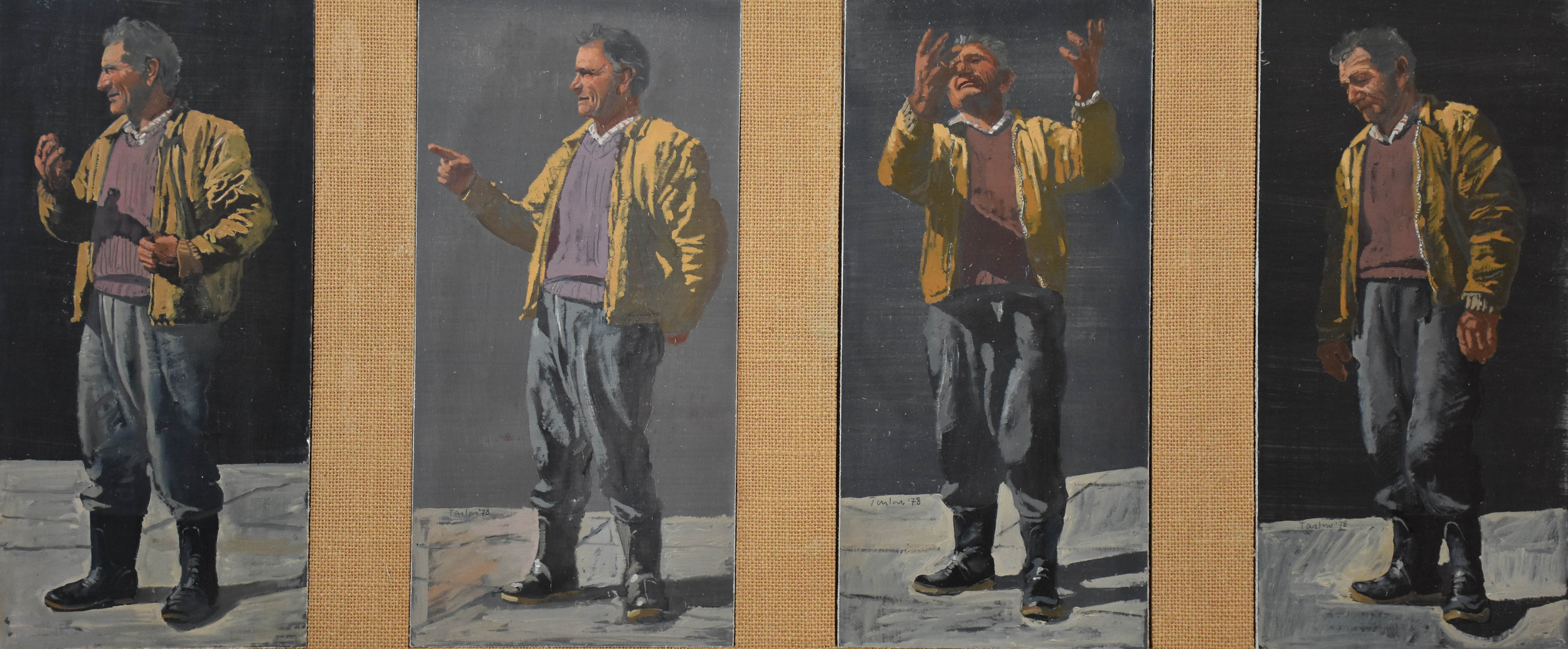 """the miracle  1978 4 panels, each 12x6"""" in oil on linen mounted on board coll: the artist"""