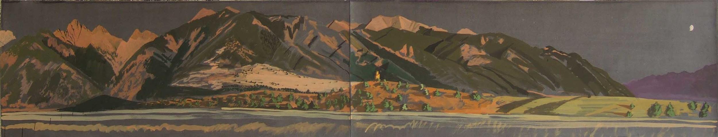 "crestone peak with moonlight  18x72"""