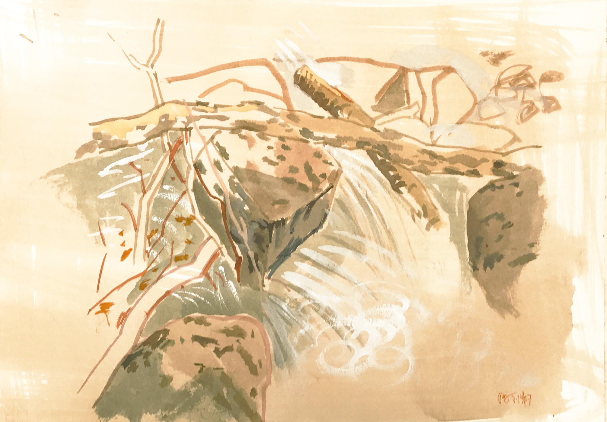 3-19-17 plein air 2  gouache on archival paper