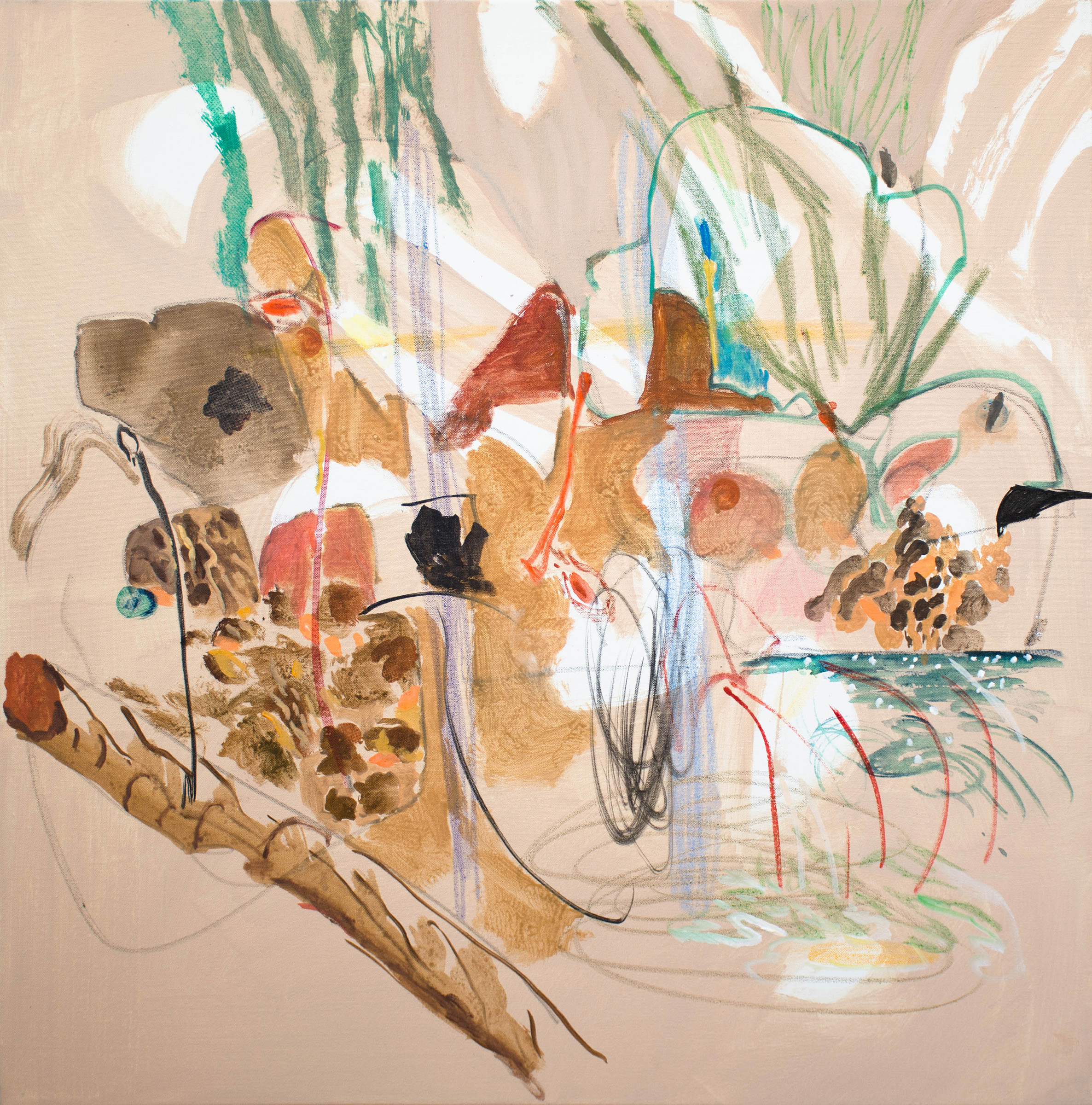 "korgy  2017,36x36"" acrylic, crayon and graphite on canvas"