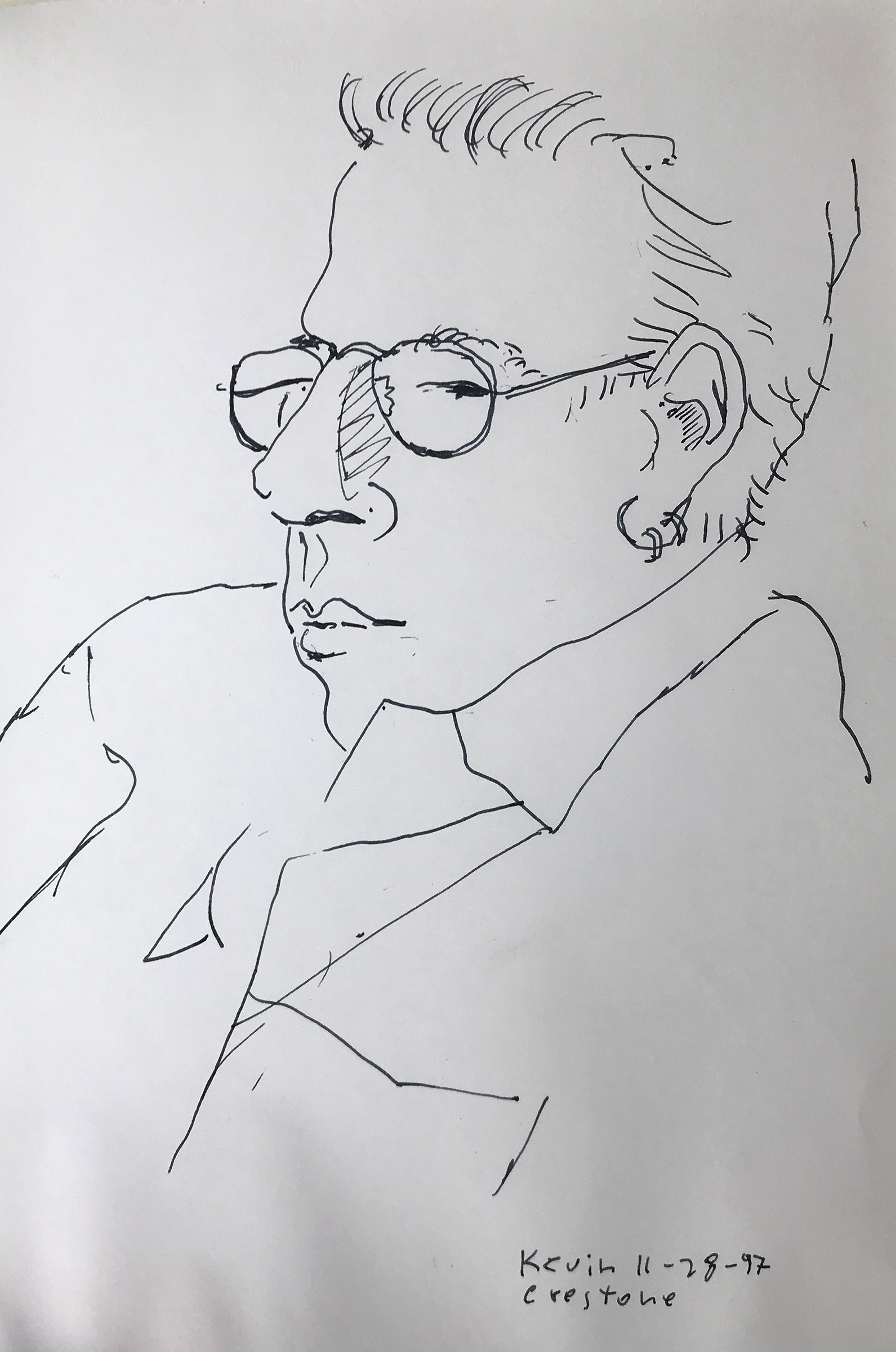11/28/97 drawing  of Kevin in Crestone