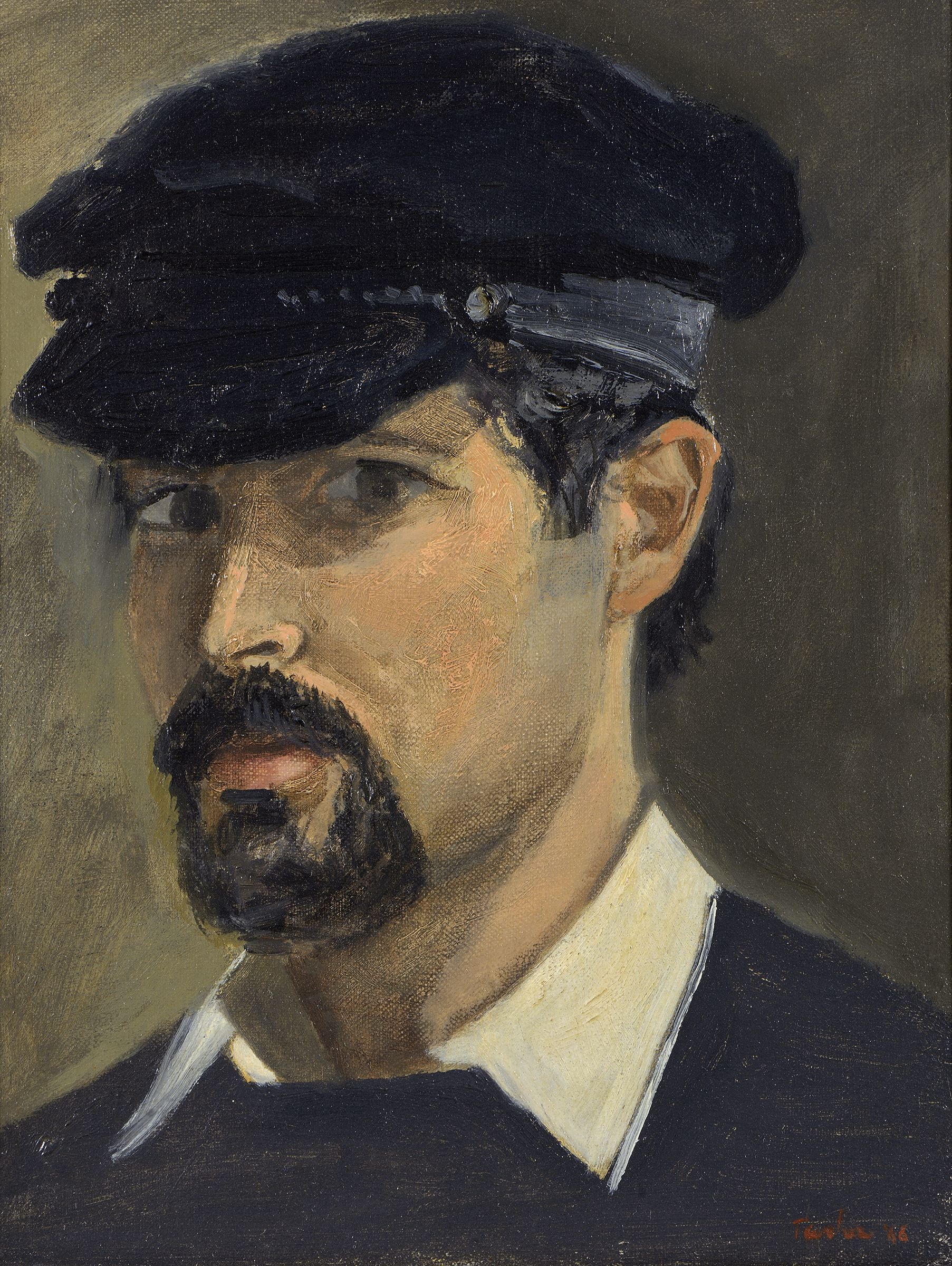 self portrait  in oil on linen in the  dionysis fotopoulos collection,  painted in 1966 in athens, greece, and included in an exhibition of self portraits organized by the  national bank of Greece  in december, 2017.