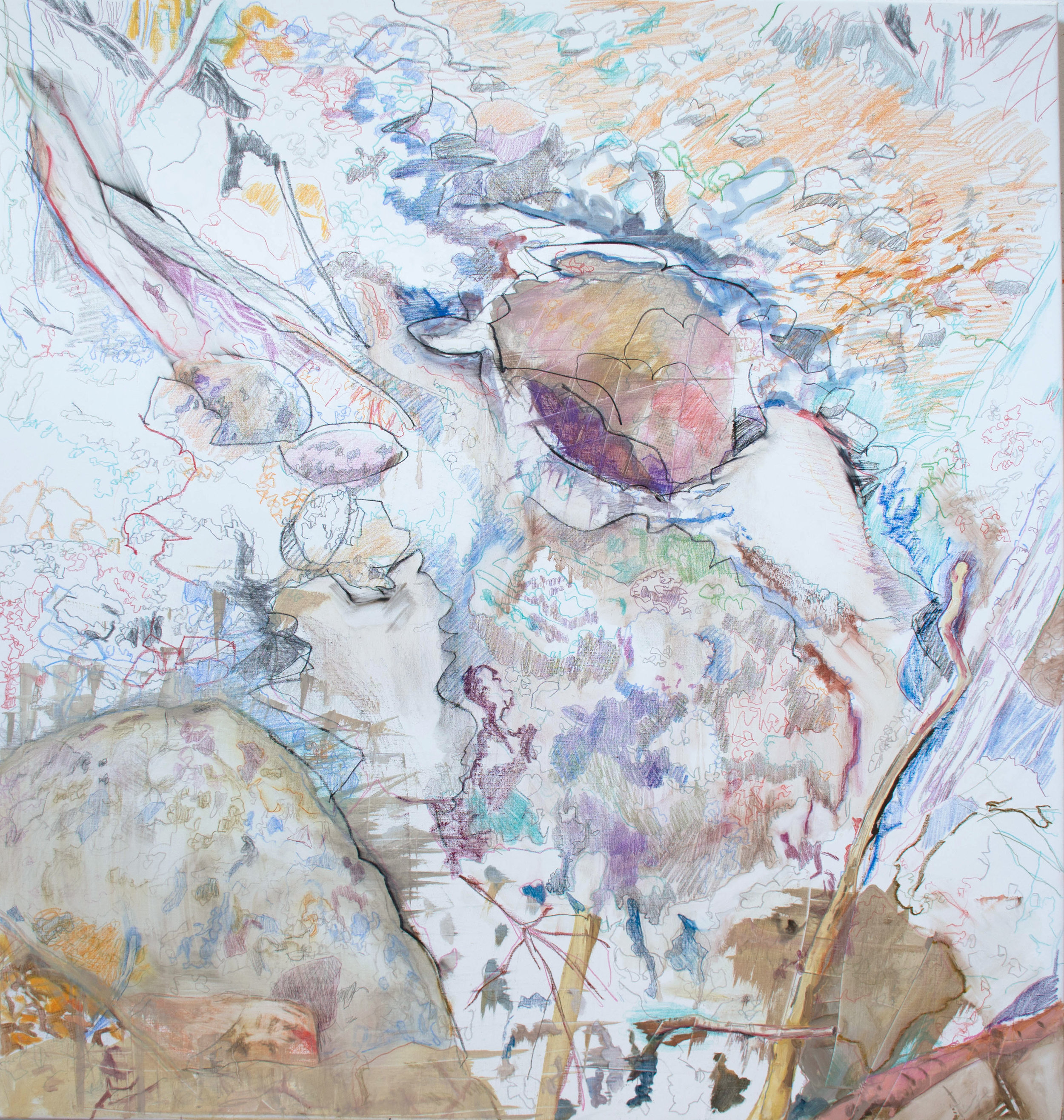 "motion 4  38x36"" oil, crayon & colored pencil on linen"