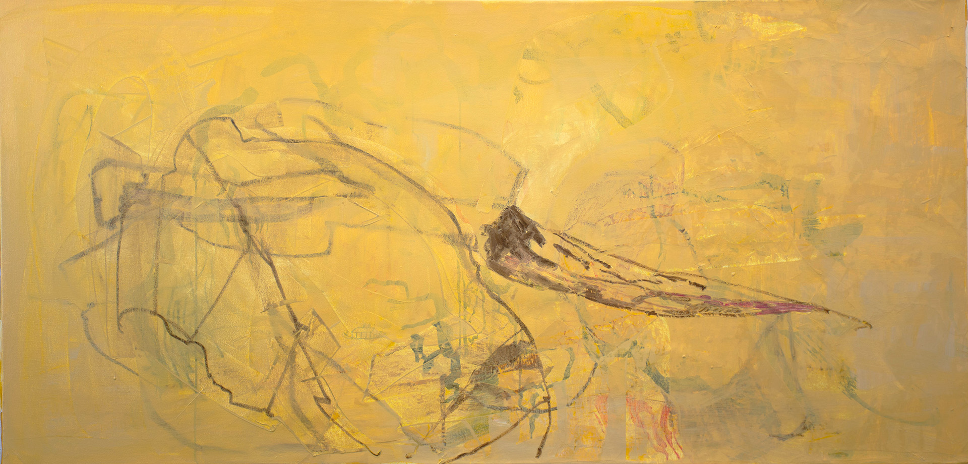 """singing creek 38 x 78"""" oil stick, oil paints, colored pencil & collage on canvas, 2016-2019"""