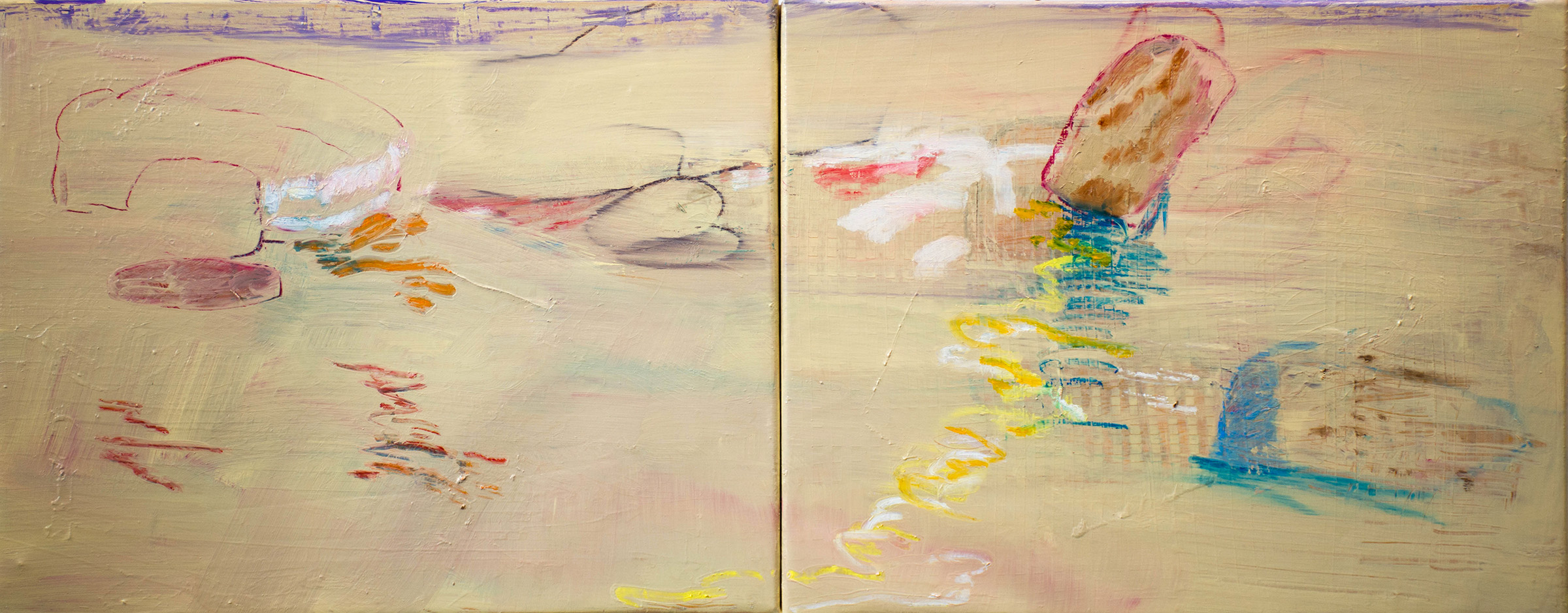 "double creek II,  16 x 40""  oil & oil stick on linen, 2019"