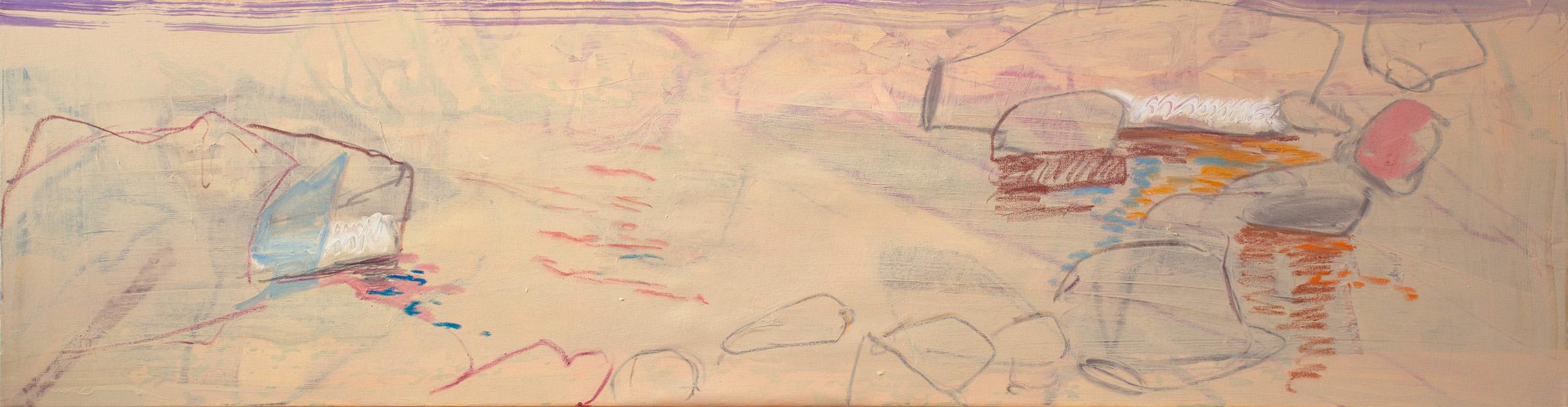 """aspen creek 17 1/2 x 68"""" oil & oil stick on linen, 2018-19"""